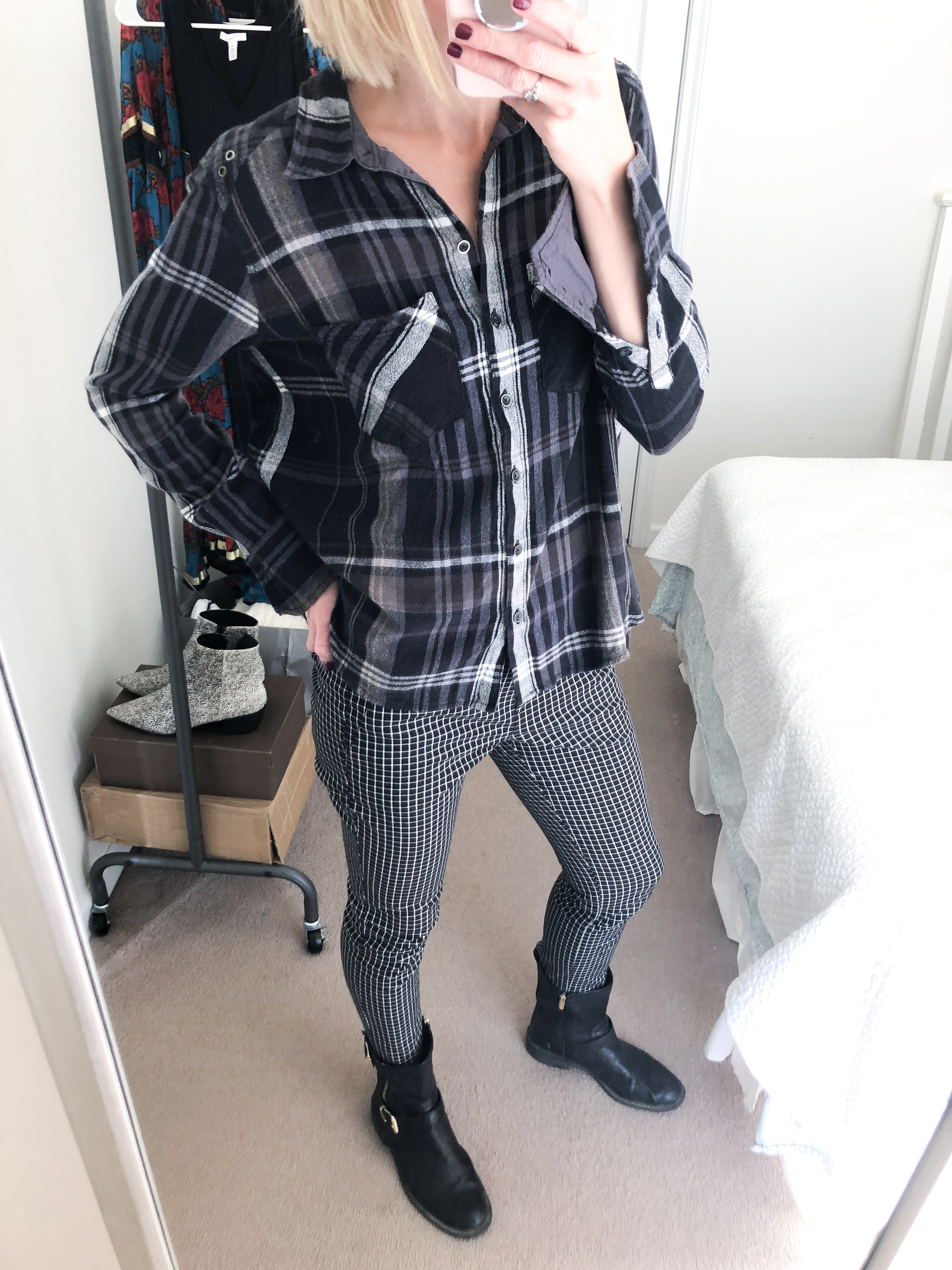 flannel button up with plaid pants moto boots
