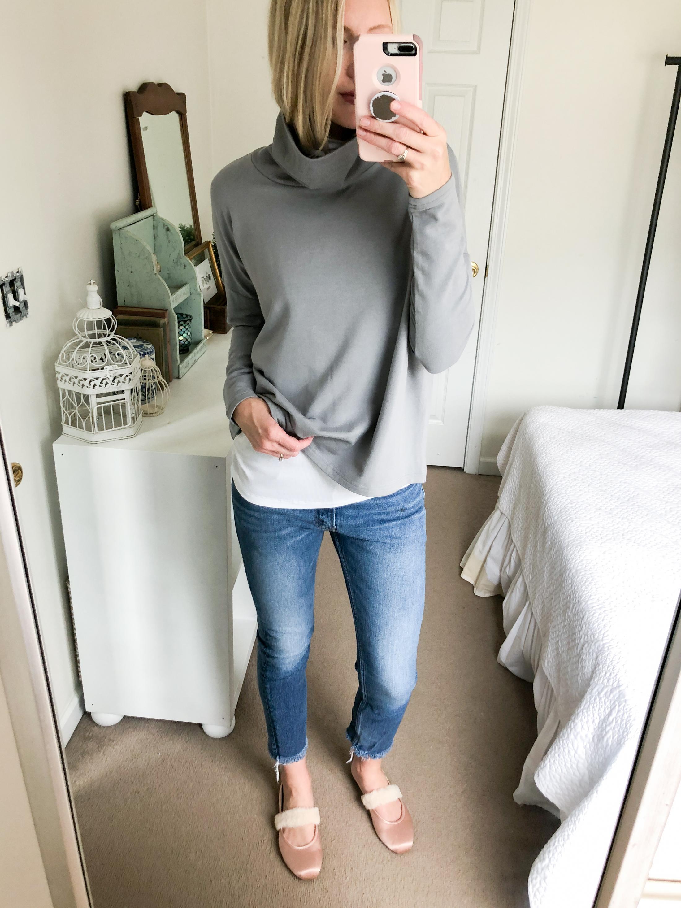 grey turtleneck swing top