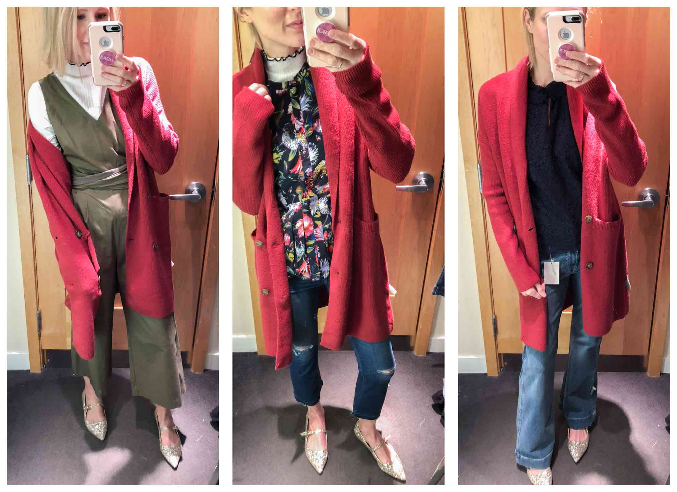 Long Red Cardigan Coat Styled 3 Ways - We're uber-excited about what J.Crew is up to. The styles are fab with high sellout risk. If there's one place to start holiday shopping now...it's J.Crew.