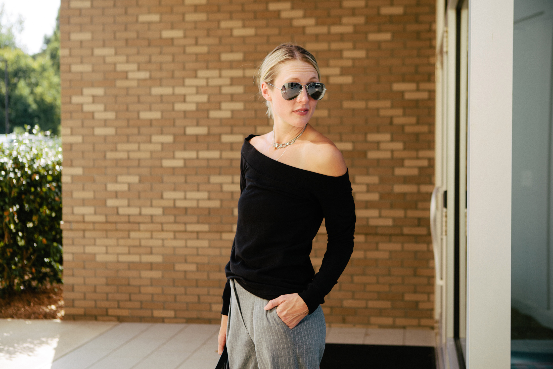 off the shoulder top with trouser pant