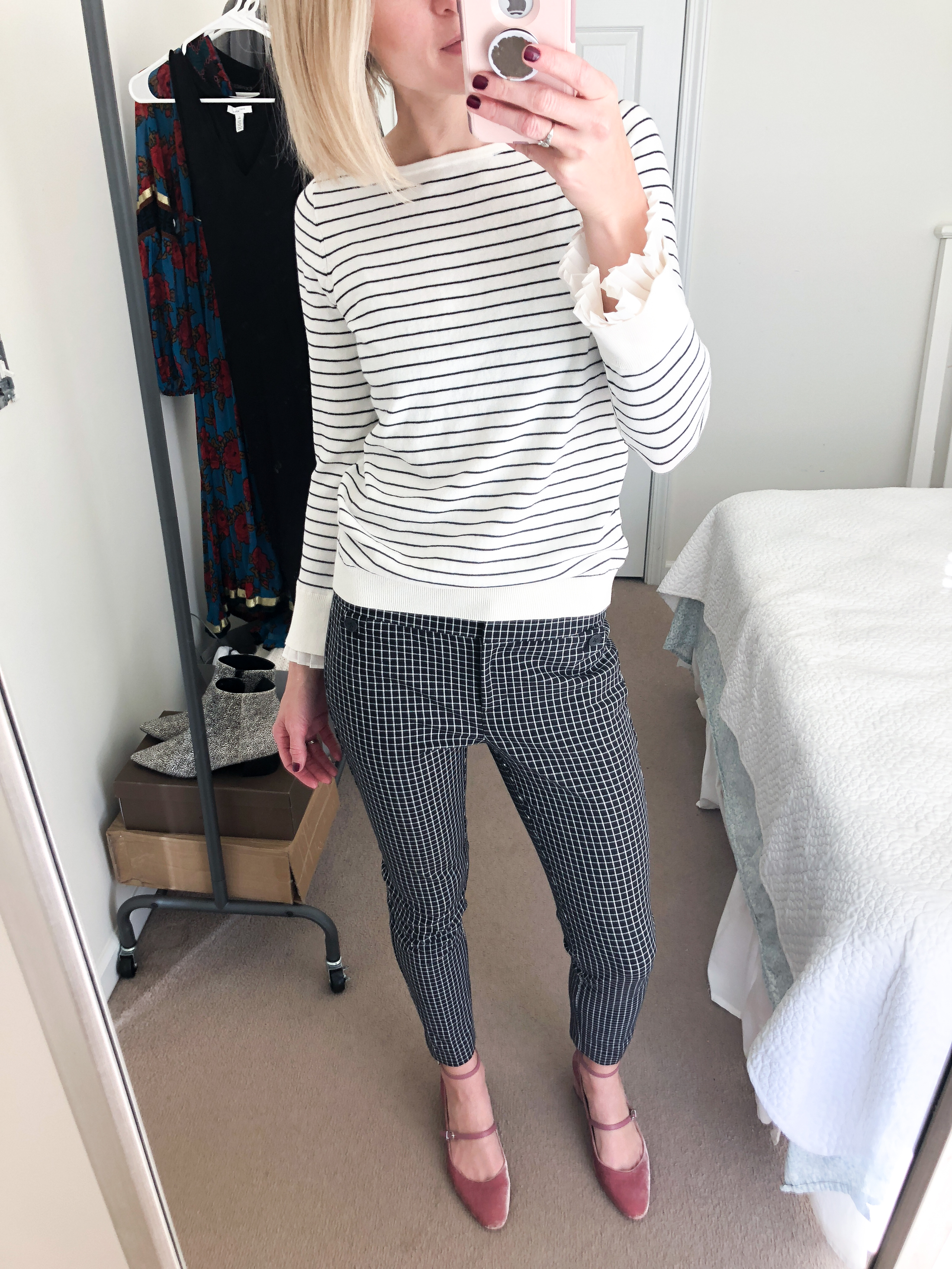 pale pink velvet shoes with cropped pants striped sweater