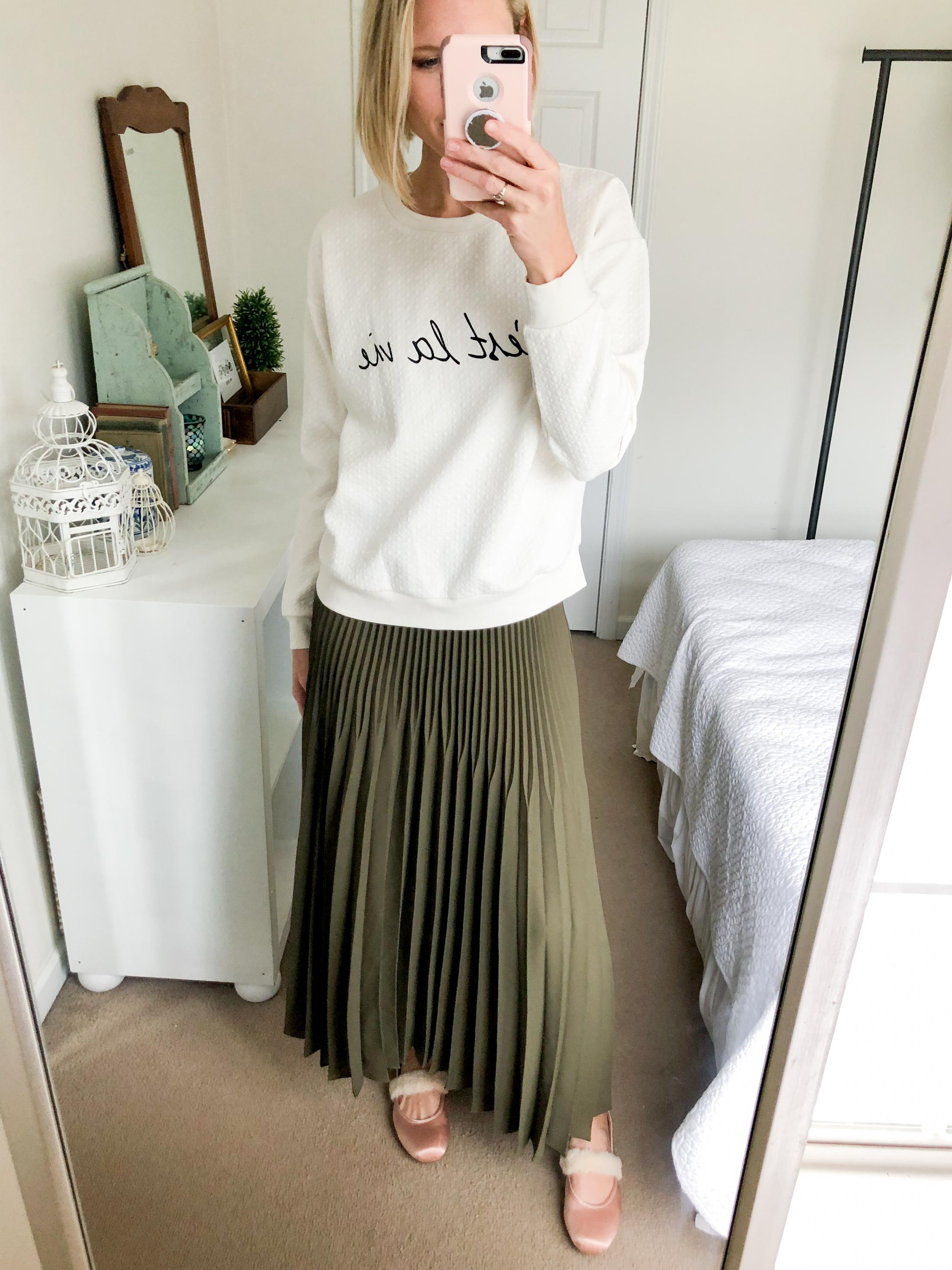 pleated skirt oversized sweatshirt ballet flats