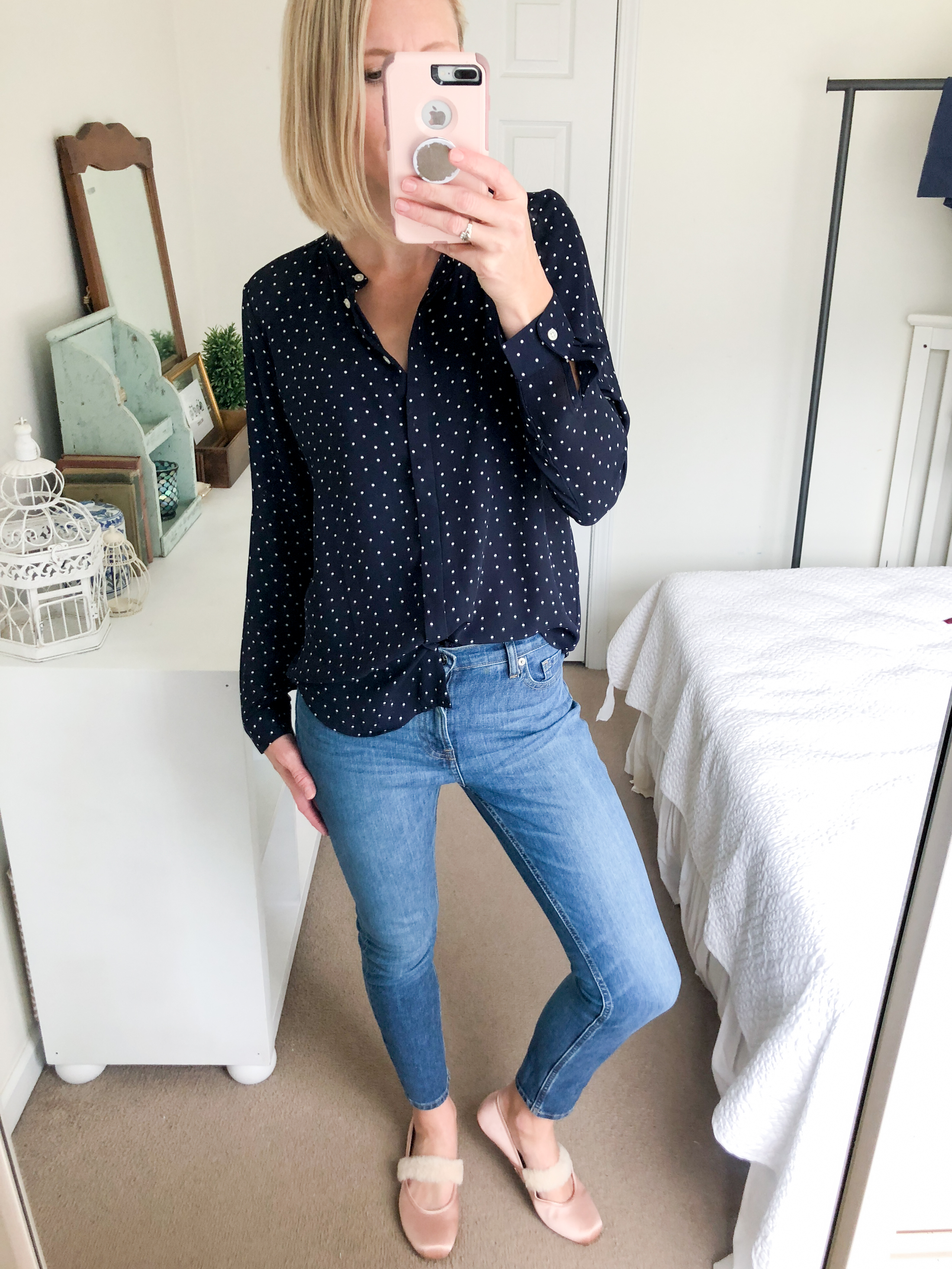 polka dot blouse jeans pink ballet flats