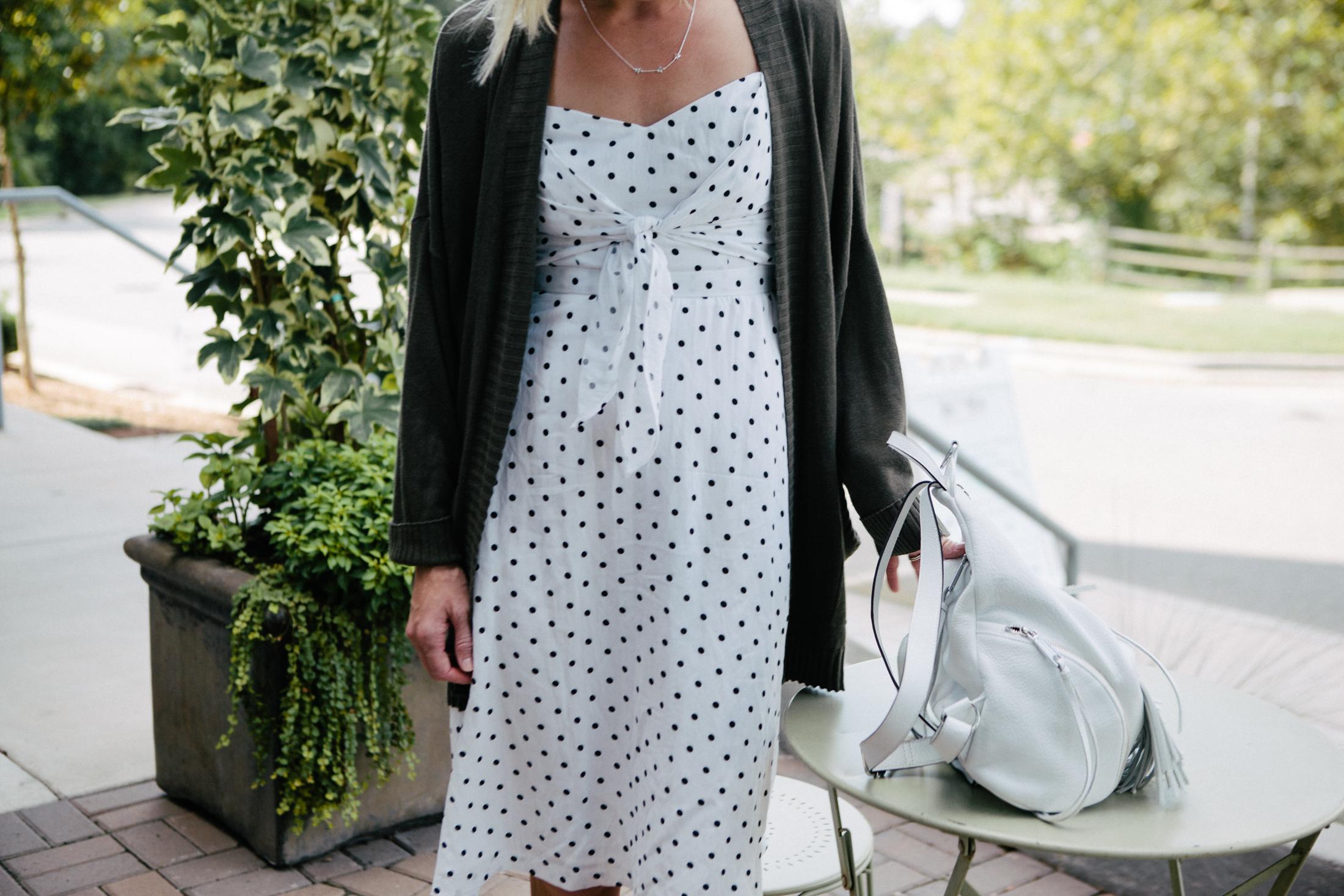 polka dot dress and cardigan