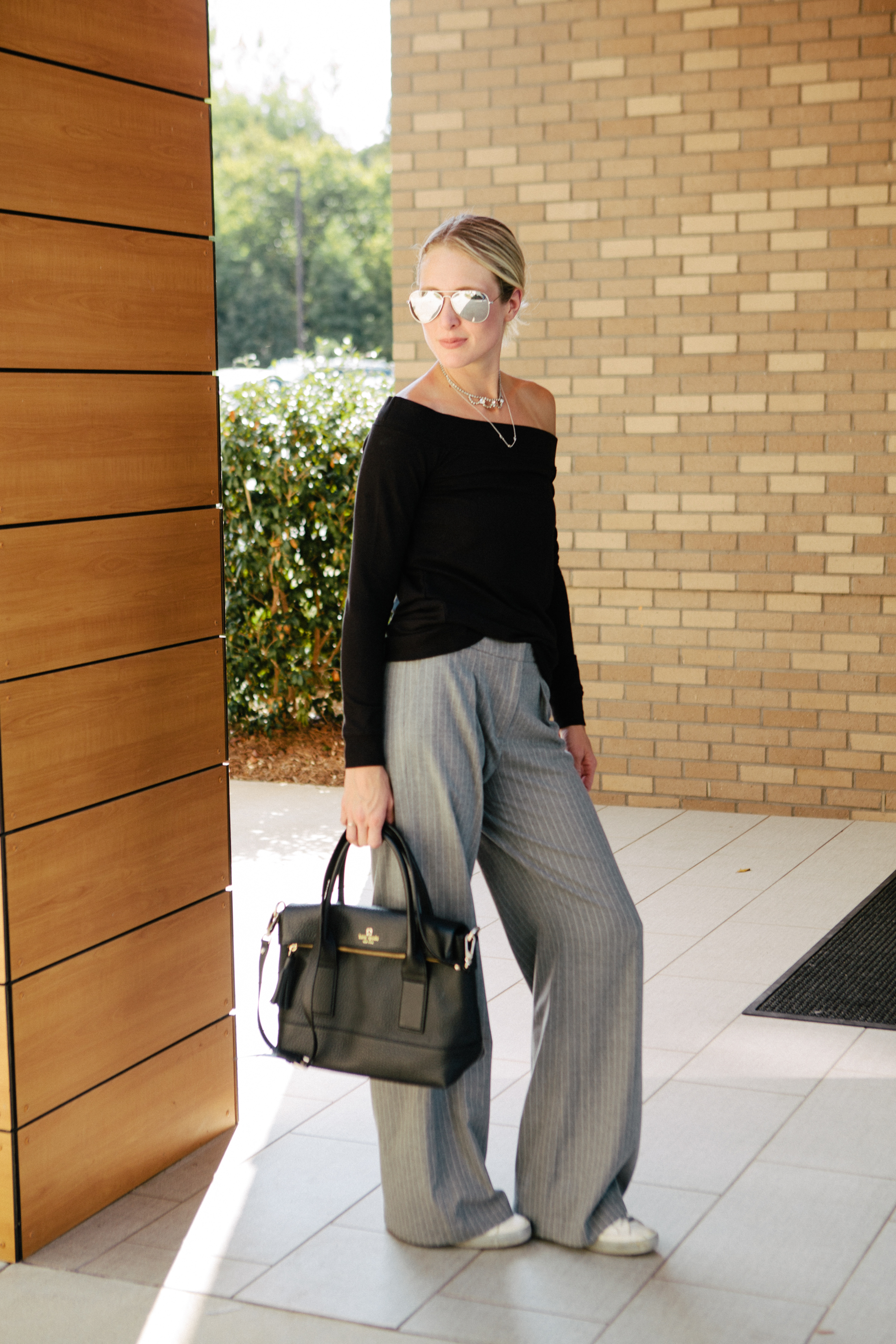 wearing wide leg trousers for everyday