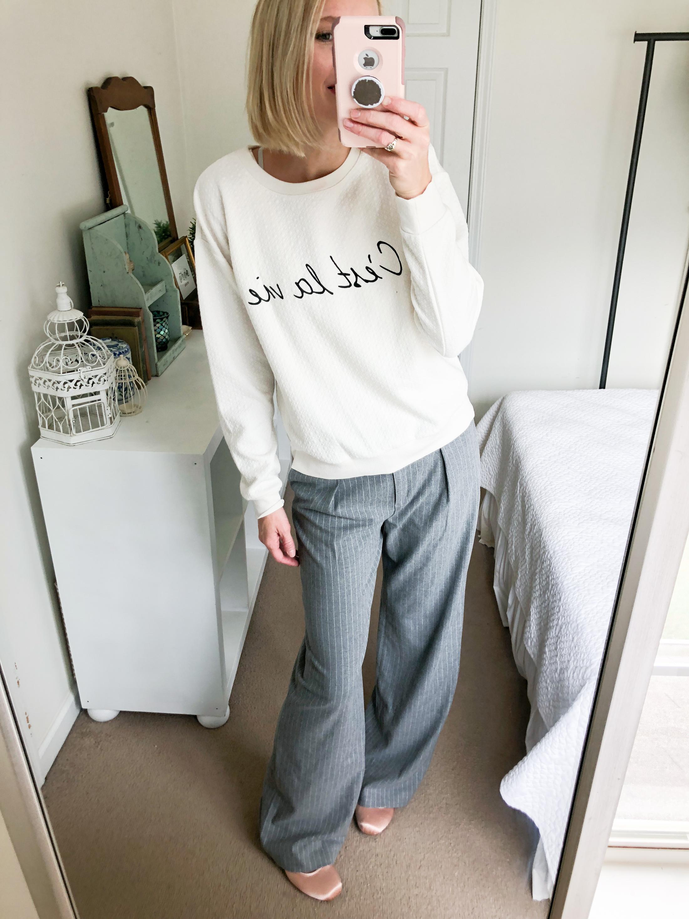 wide leg trouser sweatshirt and ballet flats
