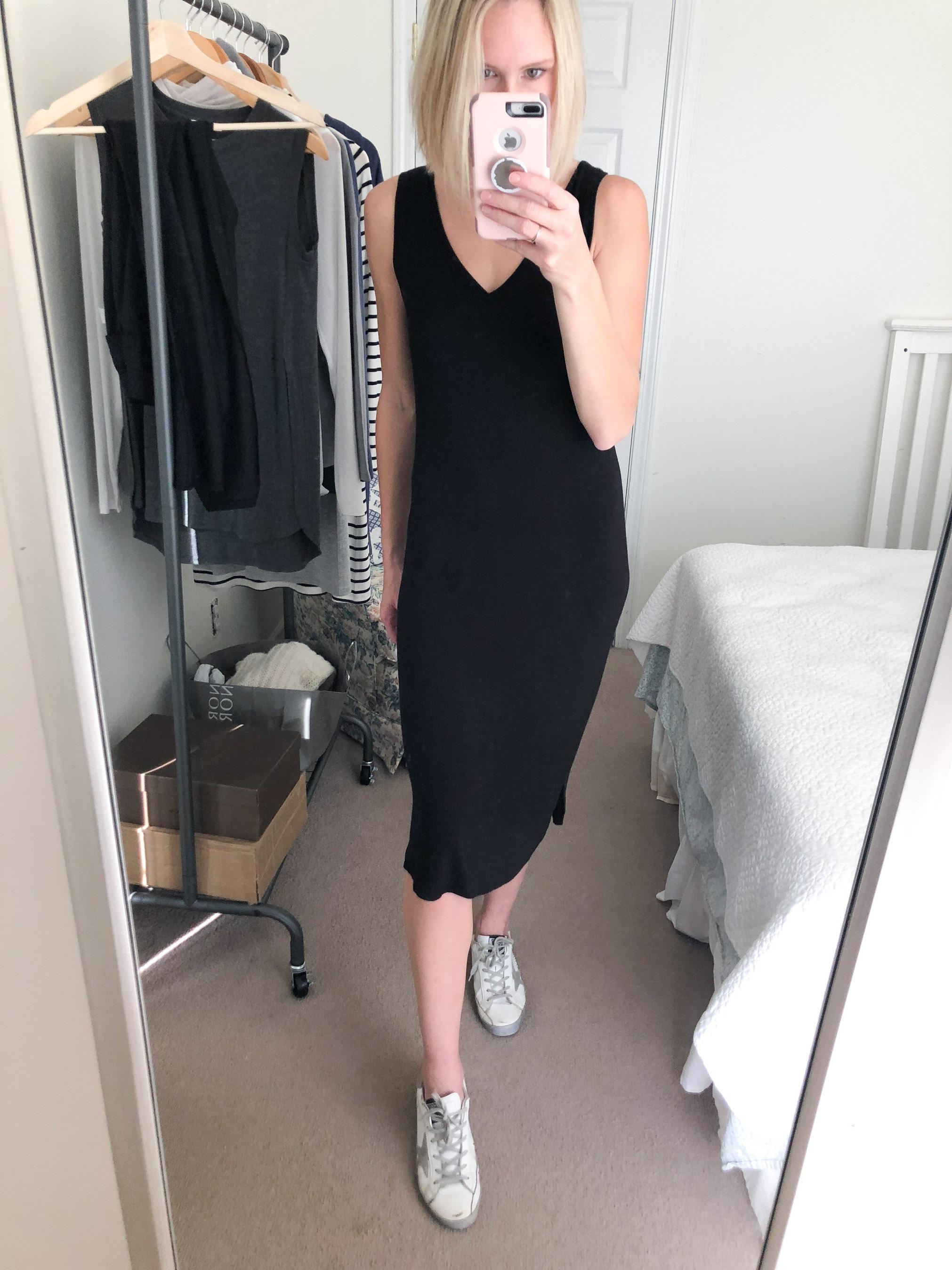black midi t-shirt dress sleeveless