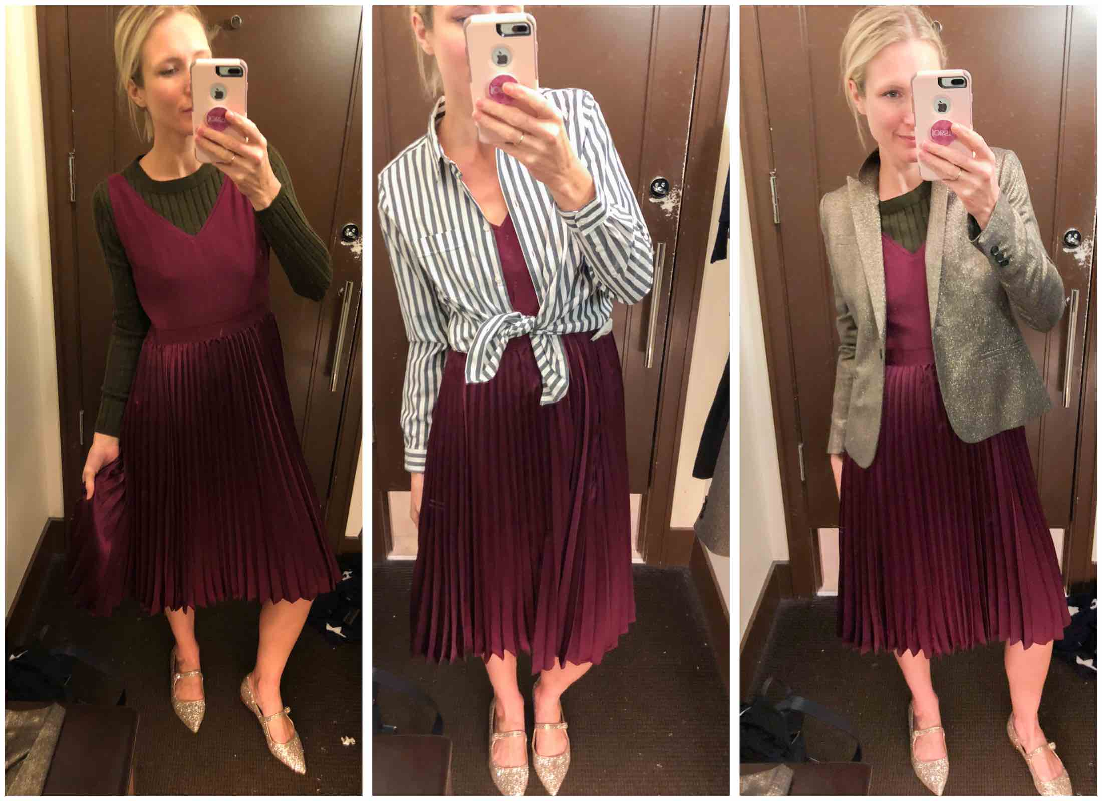 burgundy pleated dress styled three ways
