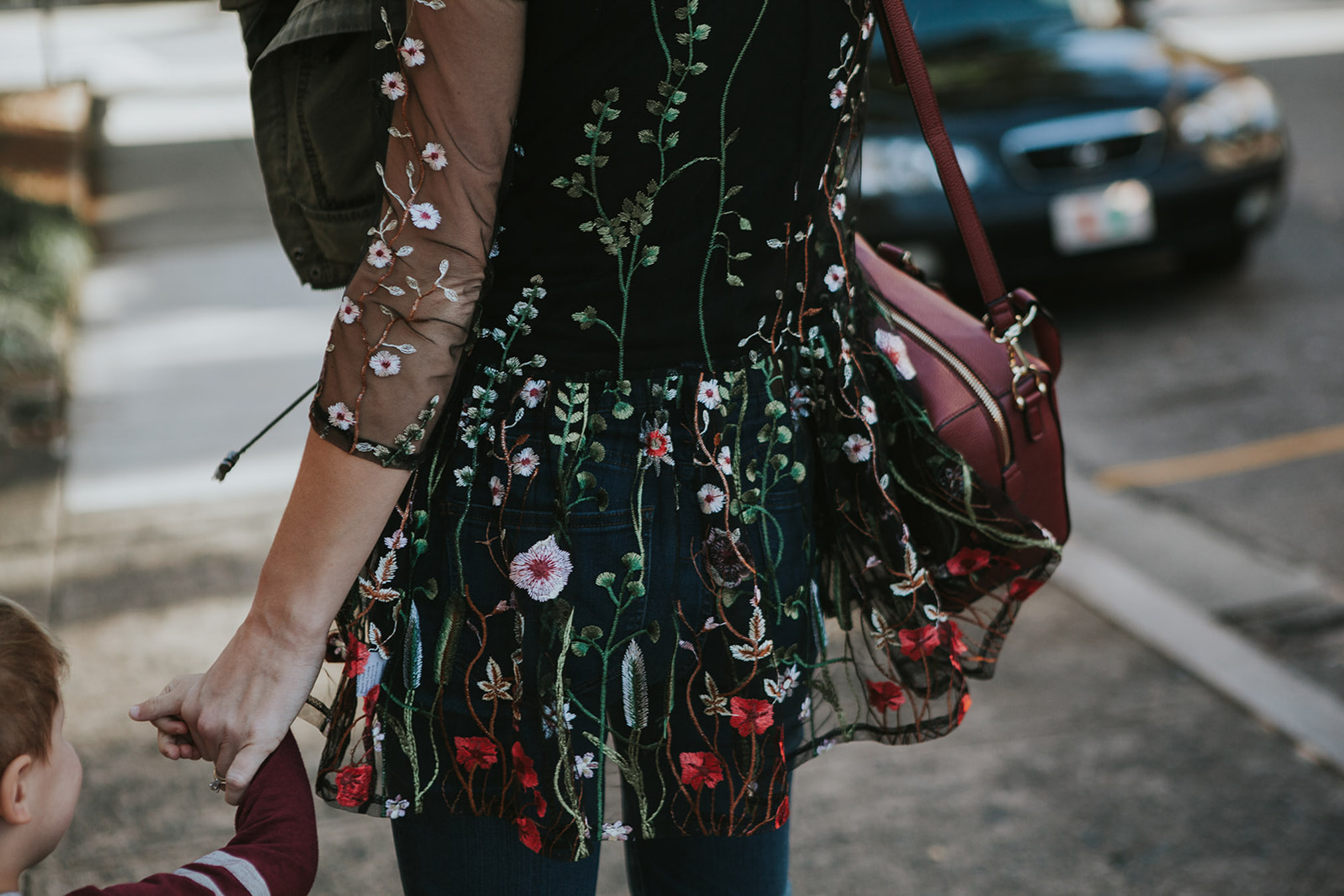 embroidered dress over jeans_