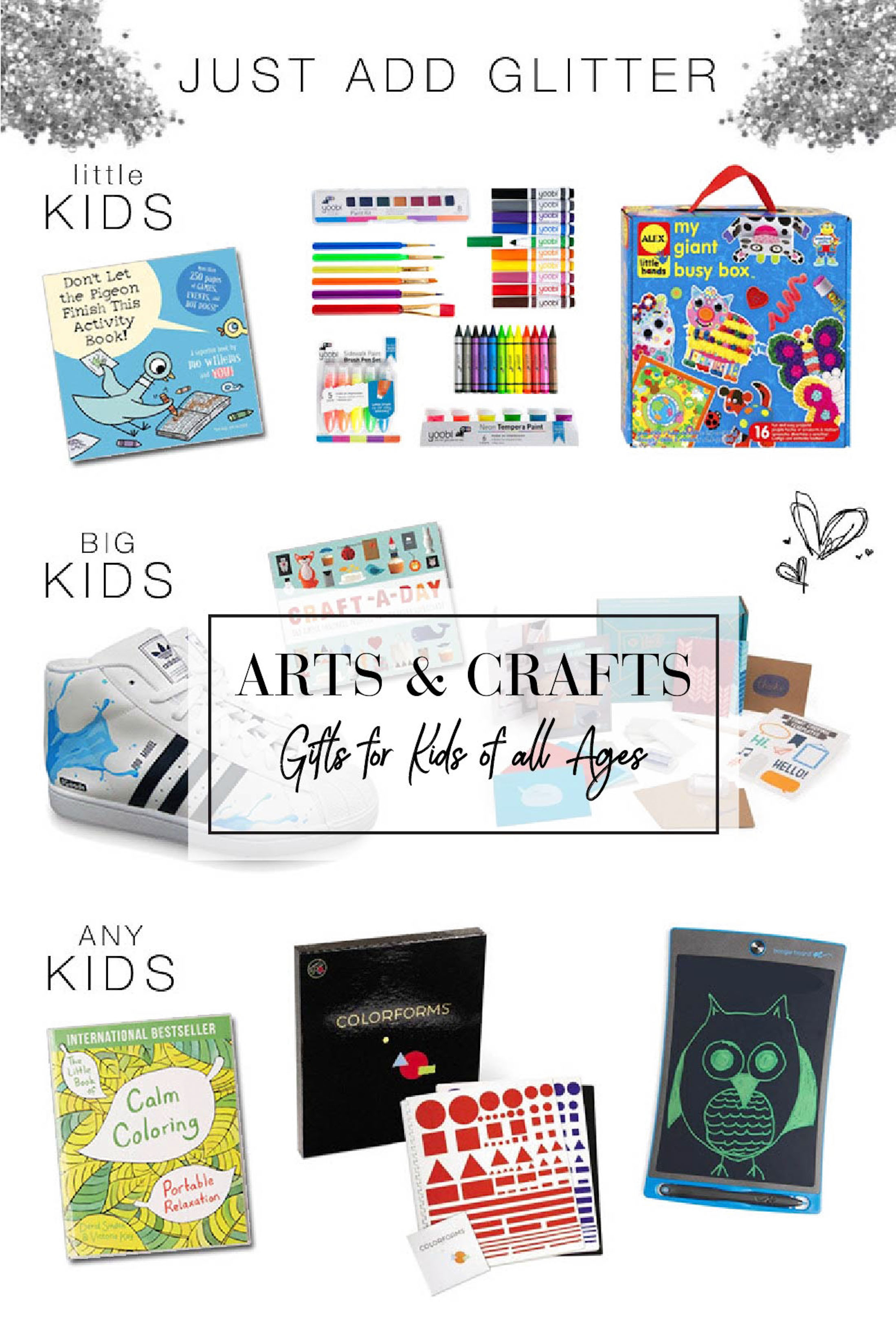 Our favorite creative gifts for children that promote imagination and quiet time, most of which aren't electronic. Arts & crafts gifts for kids of all ages.