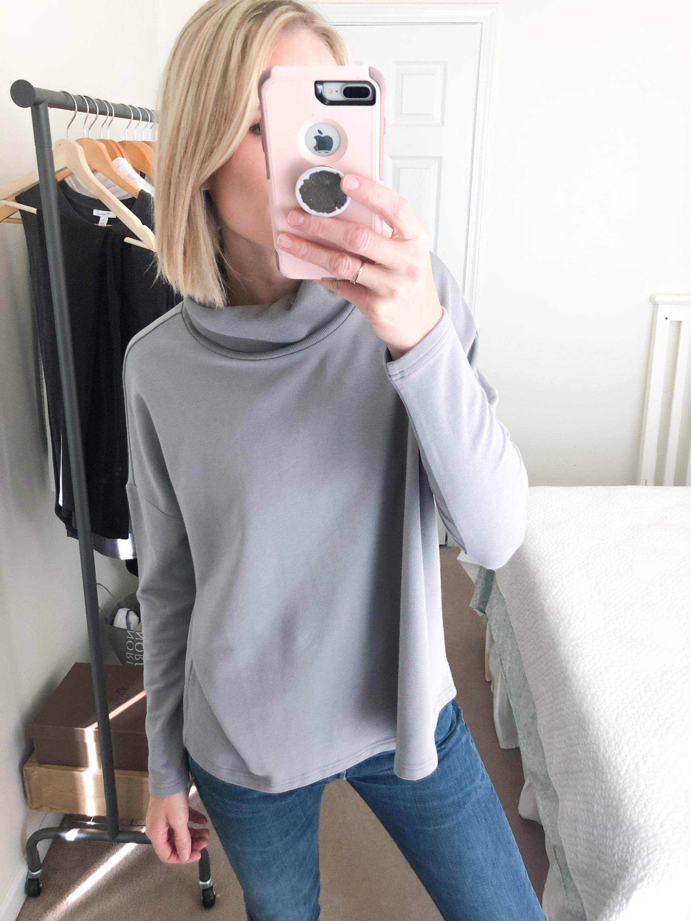 grey swing turtleneck top