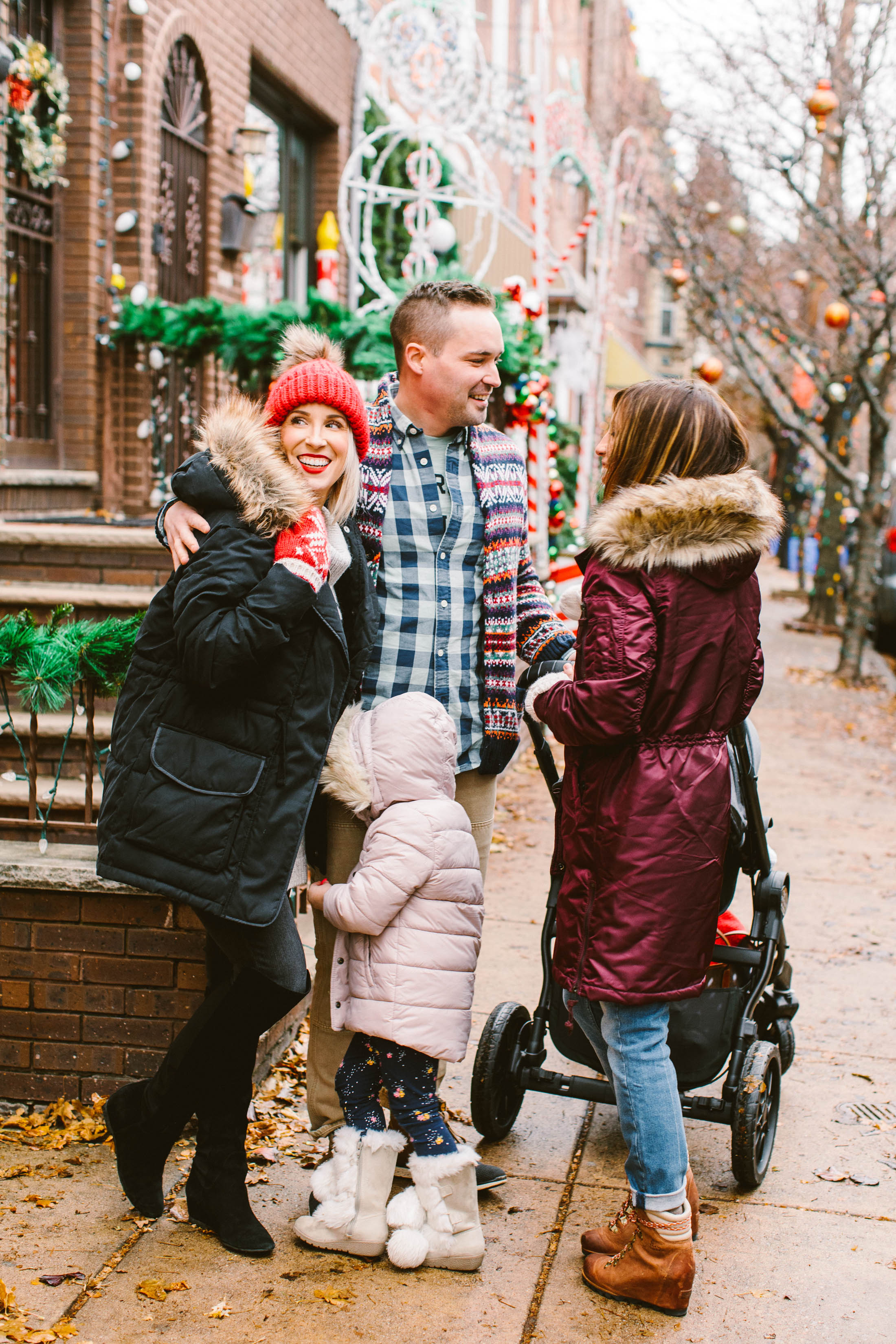 Family and Christmas decorations in South Philly. Check out our super-fun afternoon made better with layers & warm, cute coats. (The wine helped, too).