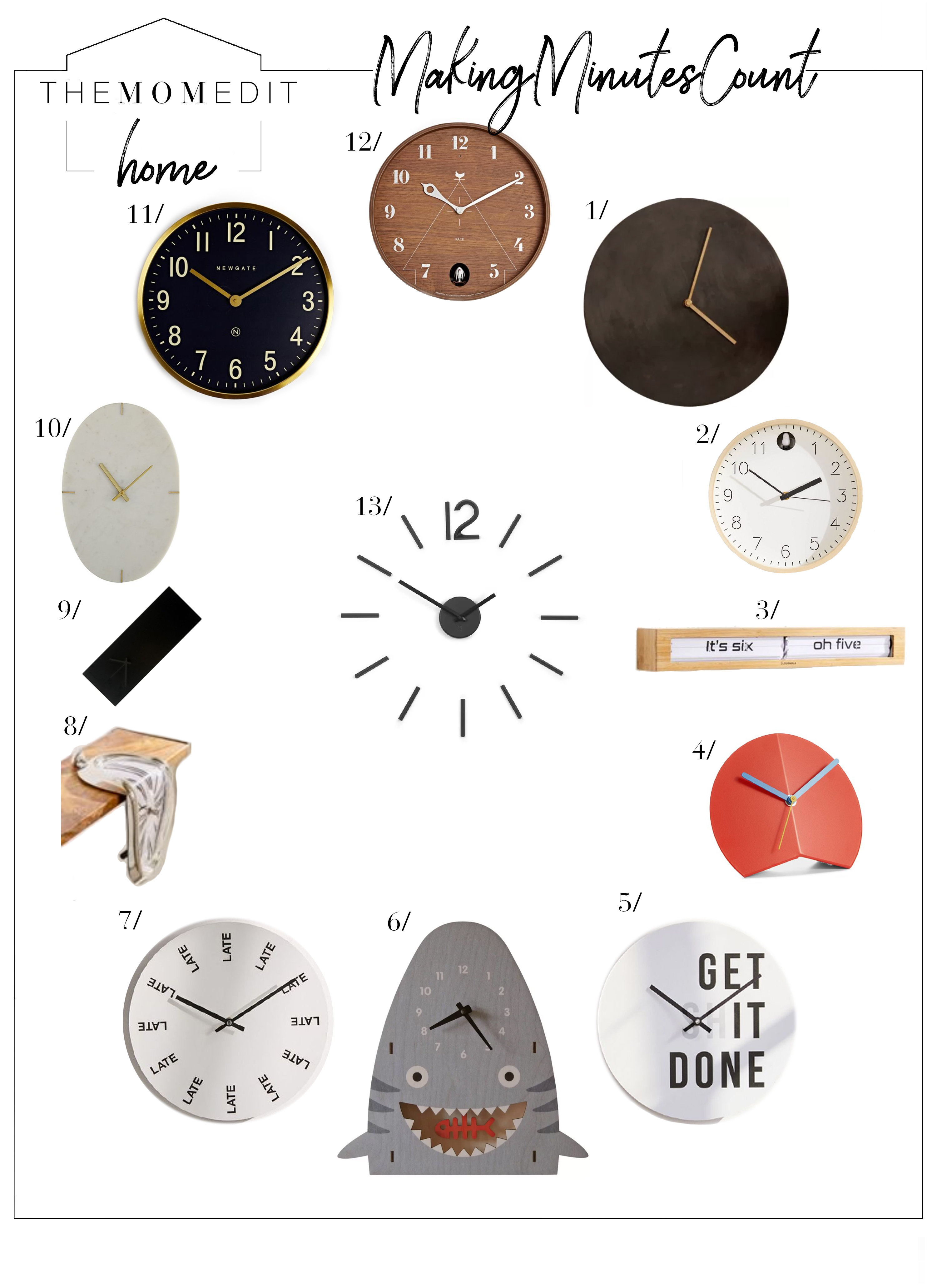 Always on time? Always late? Mas o menos? Or maybe you just love clocks—you're a mom, so however timeful or timeless you are—1 of these clocks is for you.