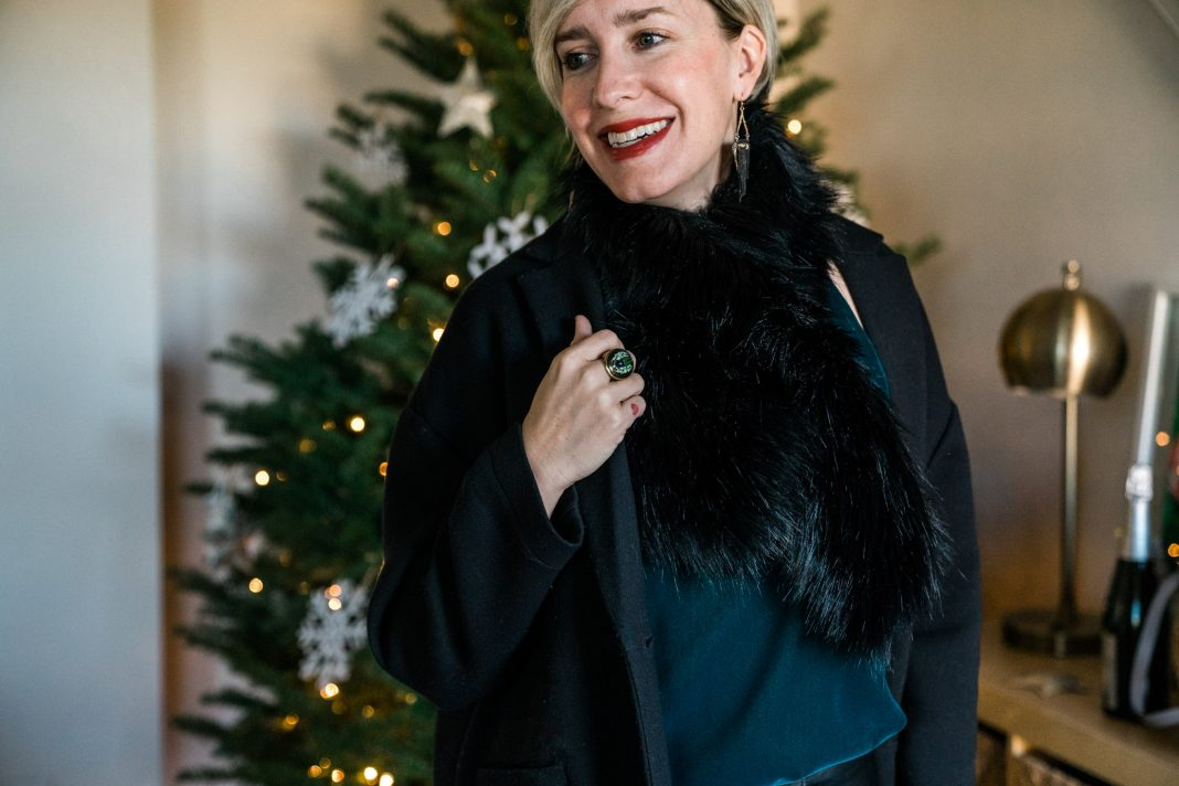 Our 12 Days of Holiday Style wouldn't be complete without getting glam for that annual dinner party with friends. Leather + faux fur + velvet...So good.
