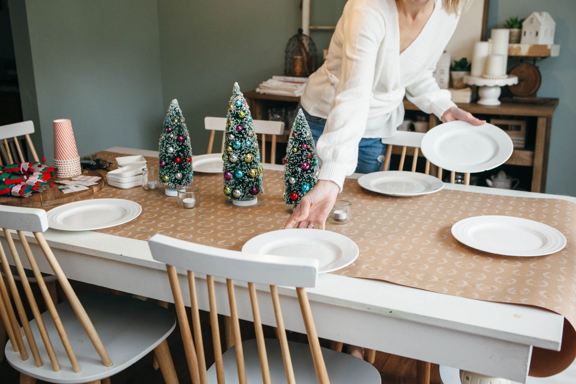 setting table for holiday guests with eBay finds