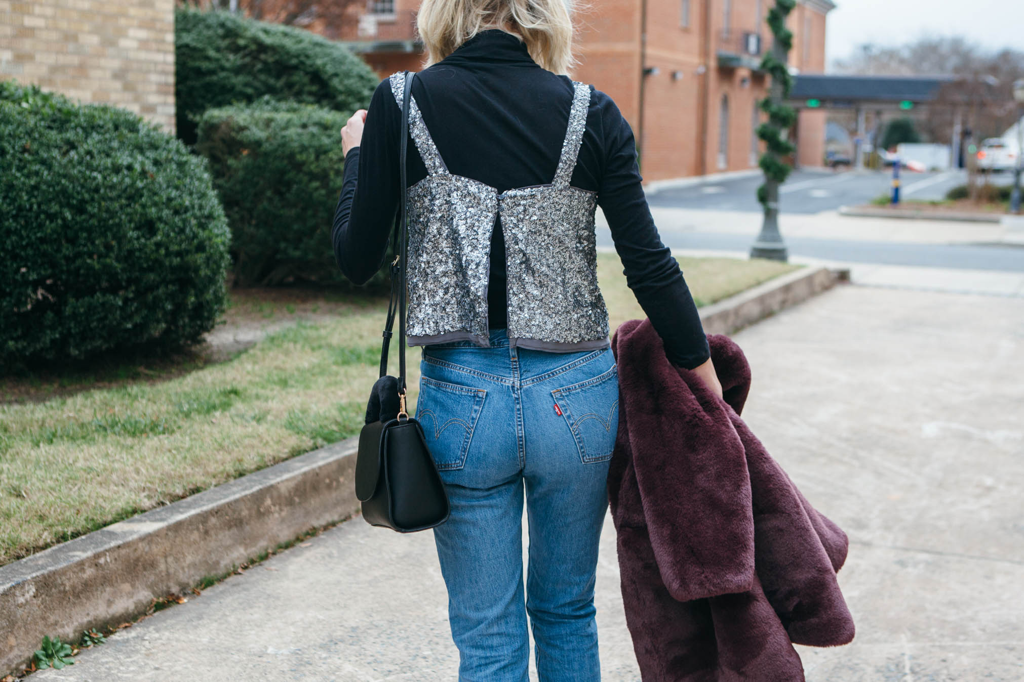 sequin top and levis jeans