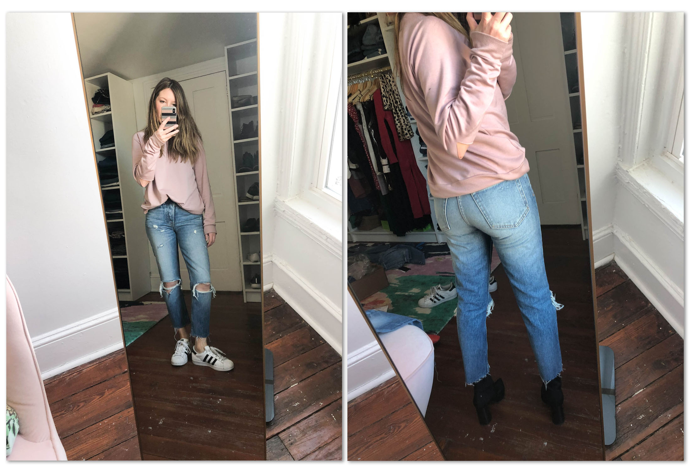 Are skinny jeans out? Hmm...We'll see. We're trying straight leg & bootcut jeans from our fav brands — AG, rag & bone, FRAME, MOTHER...#dressingroomselfies