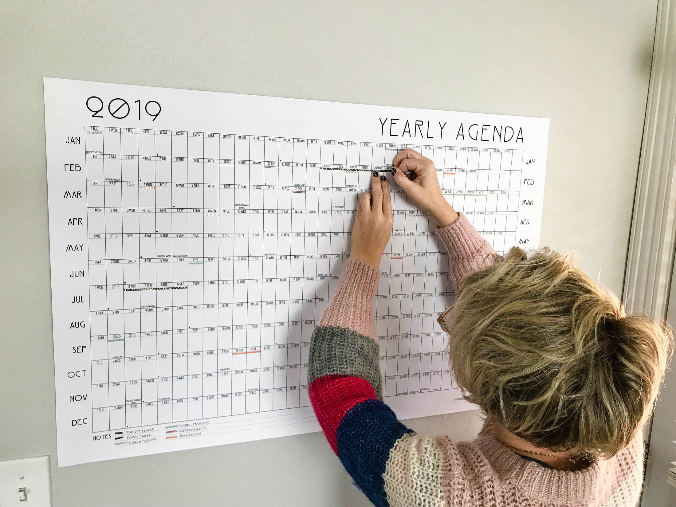 Yes, ya'll! A year-at-a-glance calendar + washi tape coding = family planning bliss. We're so excited for travel- & project-planning fun in the new year.