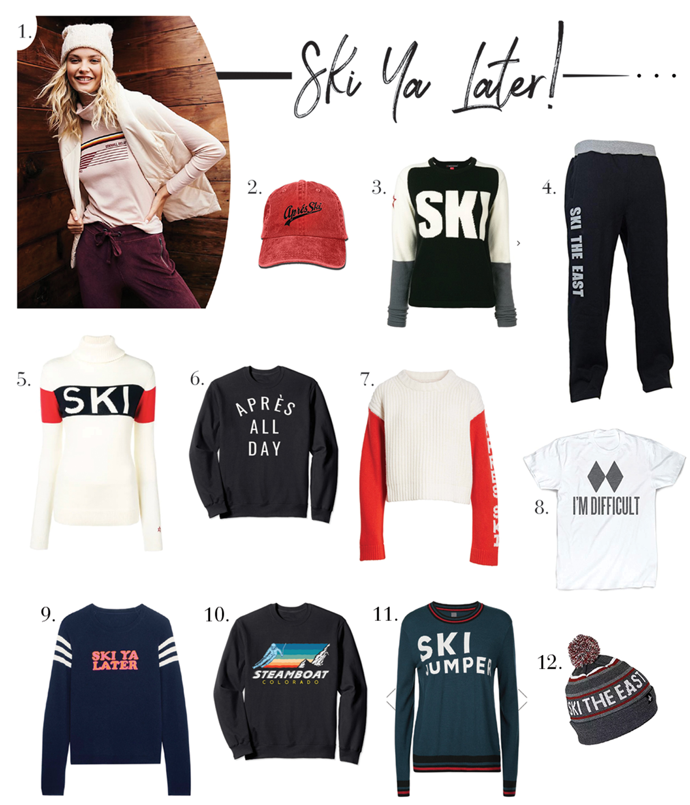 Ski season calls for some cute, cozy ski-themed gear for this snow bunny. You too? We've rounded up our fav beanies, sweaters & sweats to face the cold.