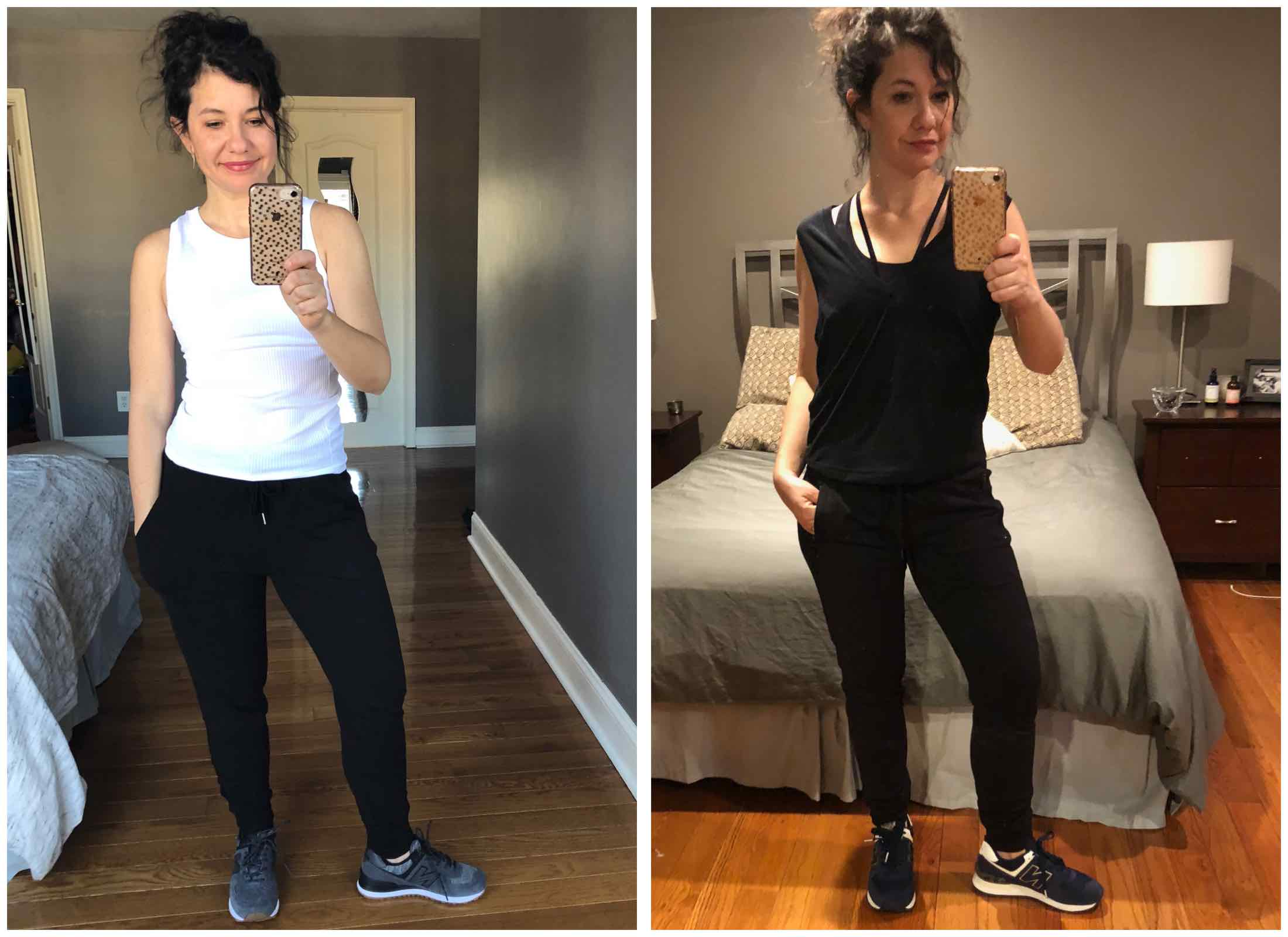 Cute workout clothes don't have to be skin-tight to perform. We try ALL the loose-fitting athletic pants — from sweatpants to flares. #dressingroomselfies