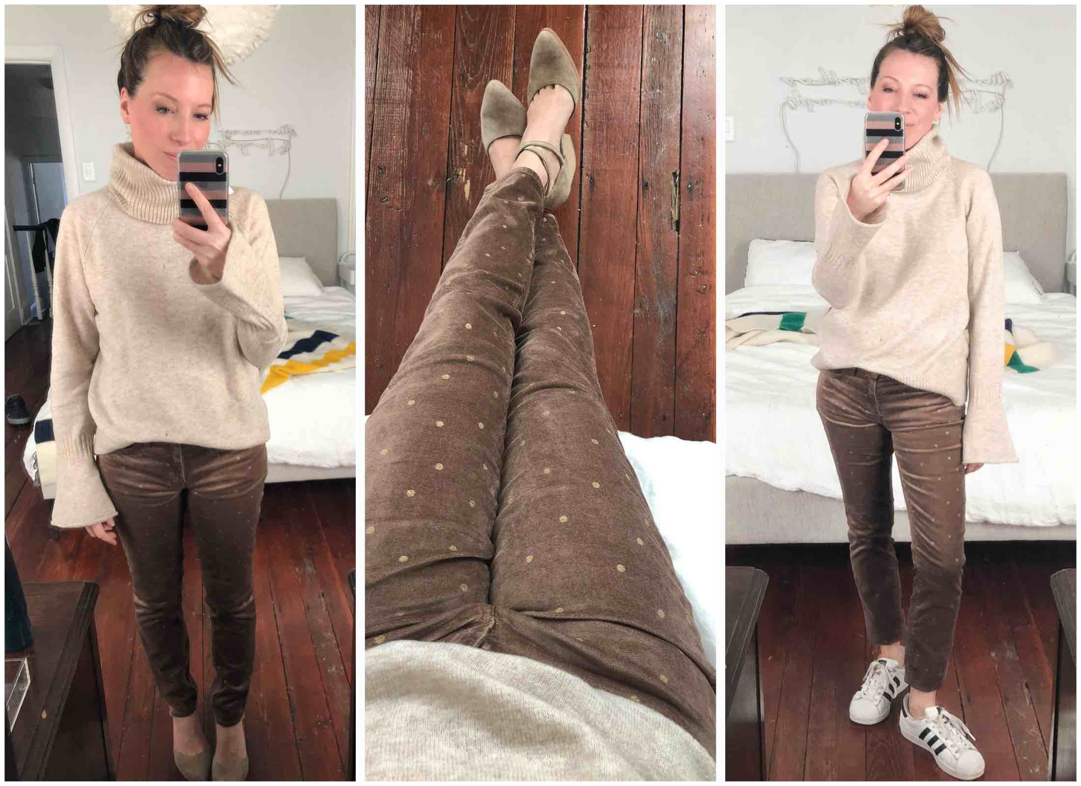 Dots on jeans, suoer-soft sweaters & trouser sweatpants... just a few of the goodies we found at LOFT. These outfits are cute enough for work & PLAY — yes!