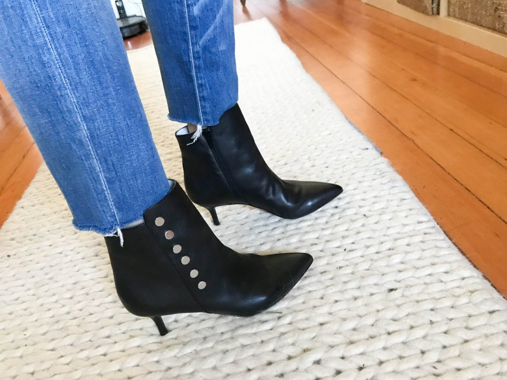 A sexy pair of black heeled ankle boots are the perfect date night go-to—but not if we can't walk in 'em. Which killer kitten heels are your favs?