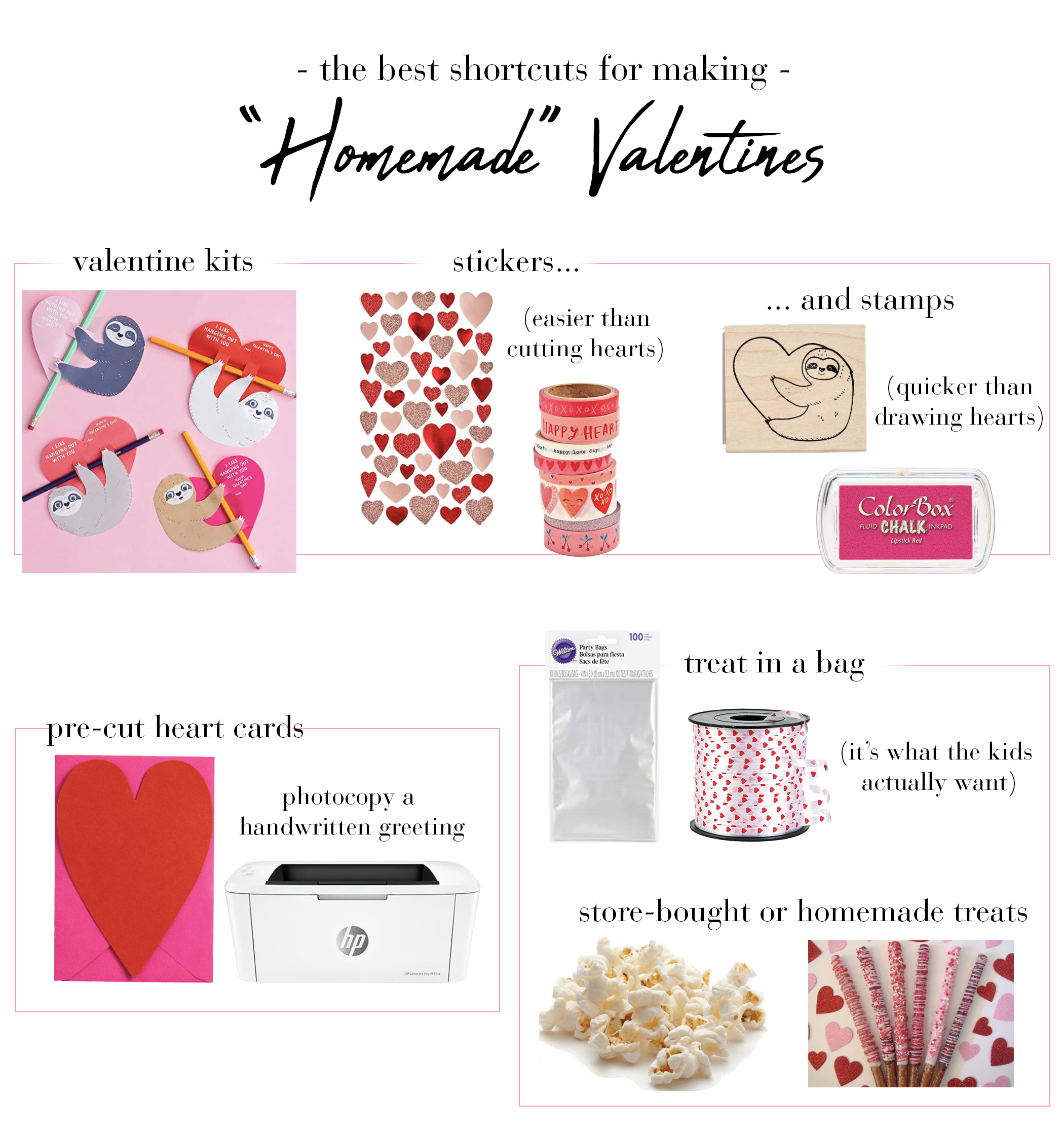 February + Momming = Valentines Day class parties. Want that homemade valentines feel, but don't have the DIY time? Check out our fav card-making shortcuts.