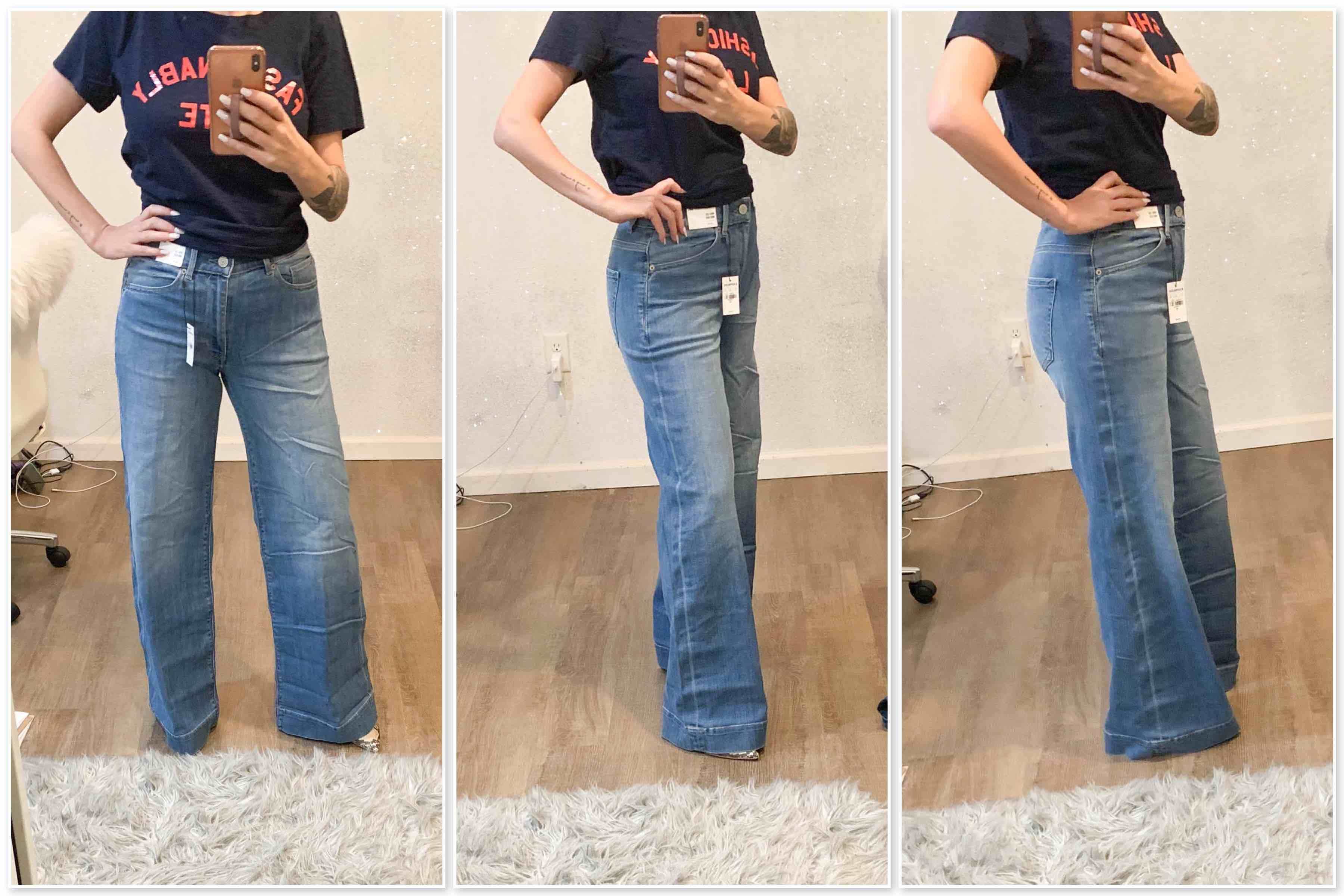 Wide-leg jeans are EVERYWHERE now. Petite & regular sizing requires A LOT of try-ons though. See which high-rise, wide-jeans we're loving right here.