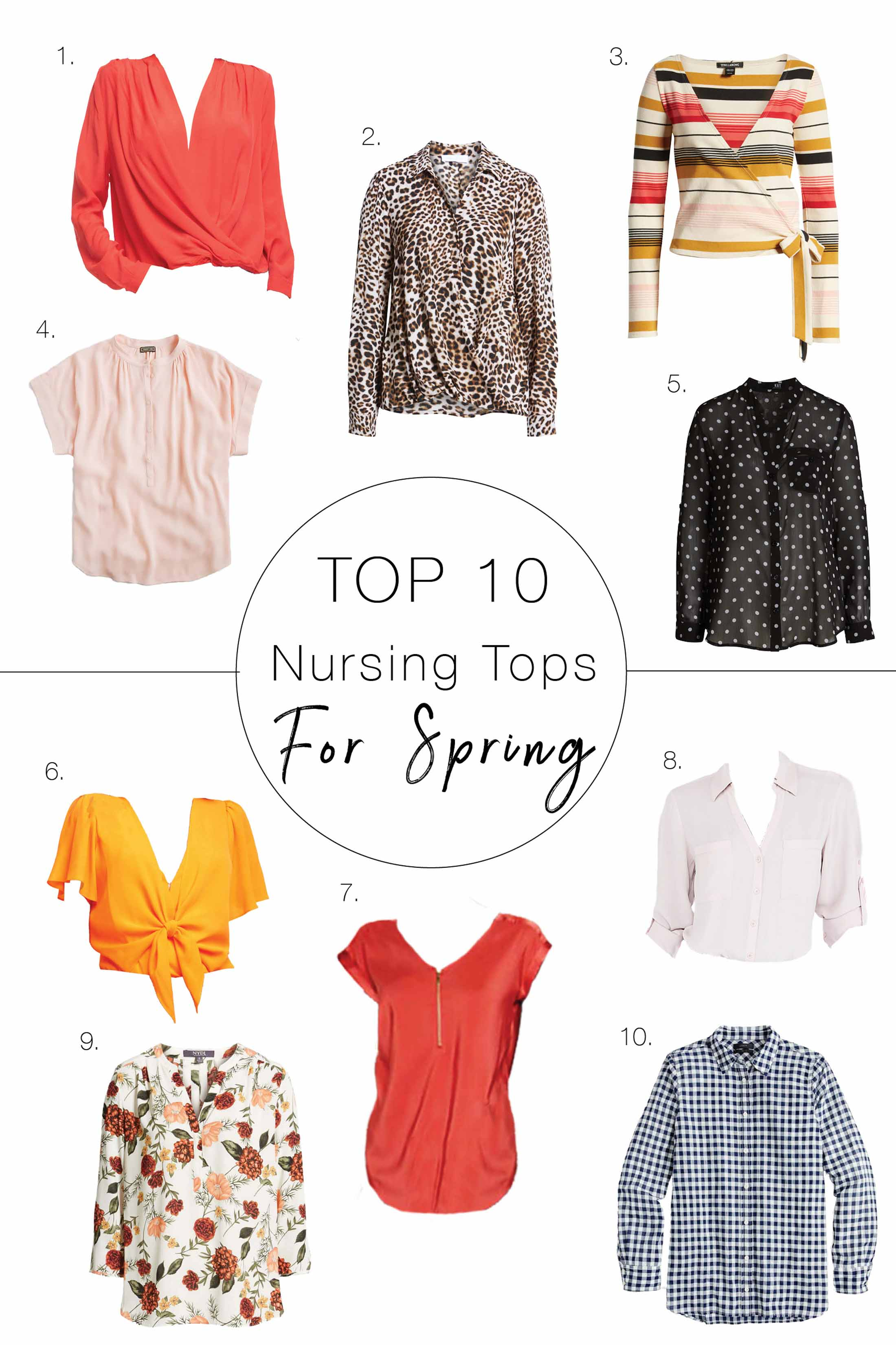 Pull it up, push it down or unbutton it...that's what we need in cute nursing tops for spring & summer. Our top 10 shirts for breastfeeding mamas — inside.