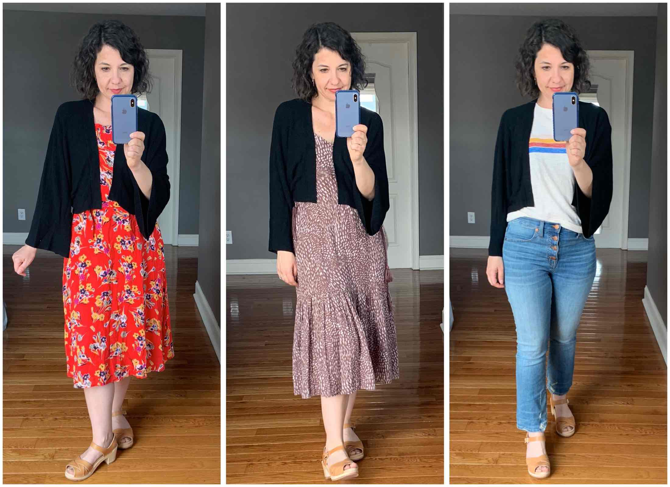 Cardigans. Shrugs. Pullover sweaters. Shower-resistant Jackets. Hoodies. Finding the perfect summer layer to match my go-to outfits. Try-on sesh right here.