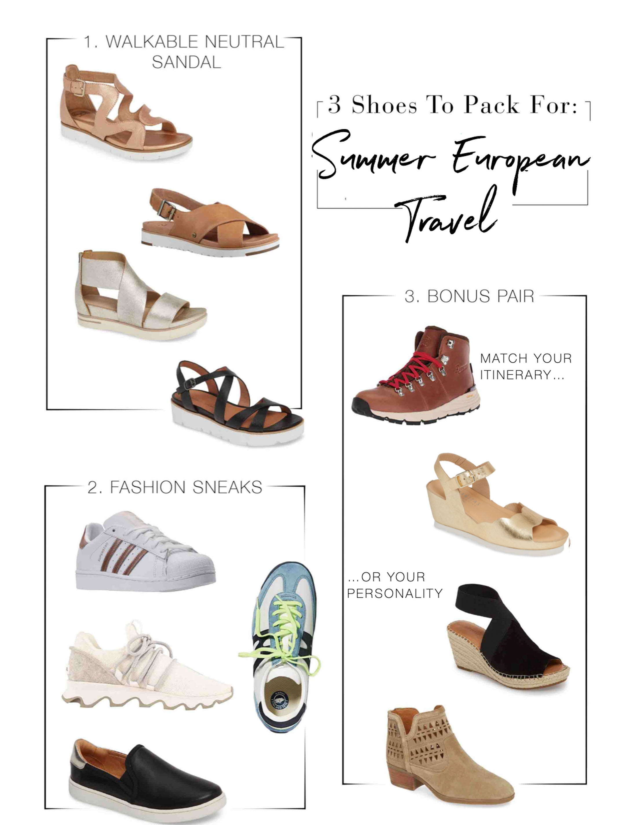 Your packing list for travel to Europe this summer MUST include 2-to-3 pair of walkable, stylish shoes. We're on it! Our style suggestions right here.