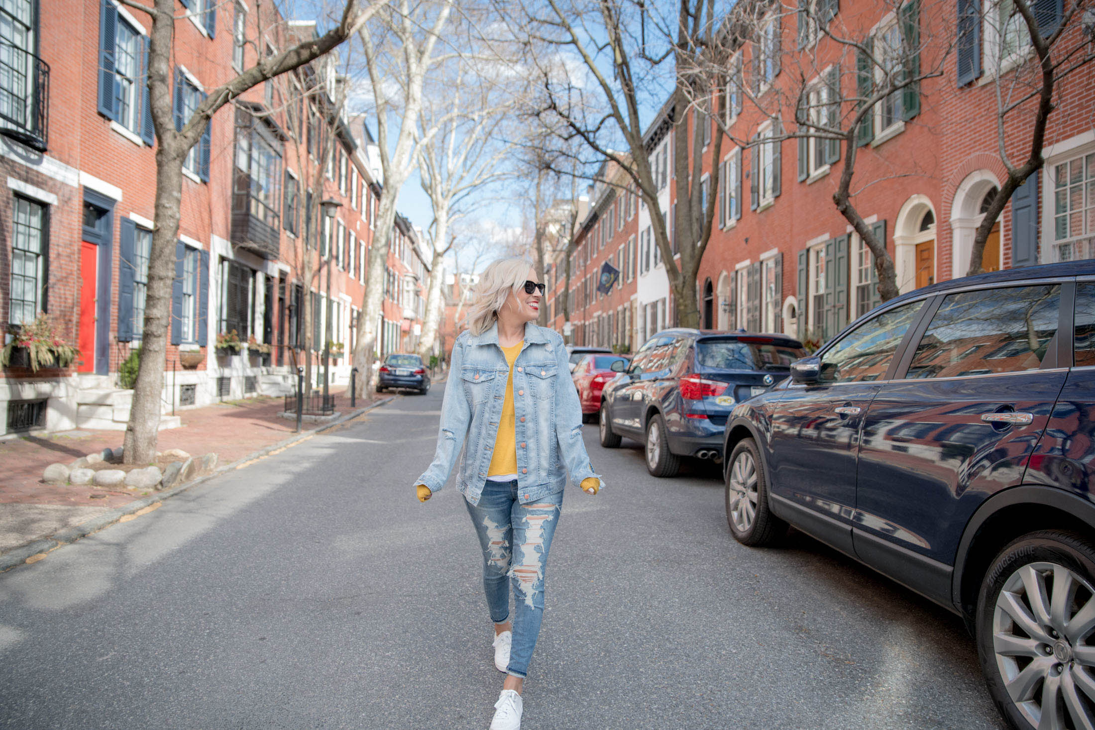 Denim-on-denim. Can't go wrong for a laid-back look, especially when the temps are changing. A jean jacket, a pop of color...here's how we're styling it.