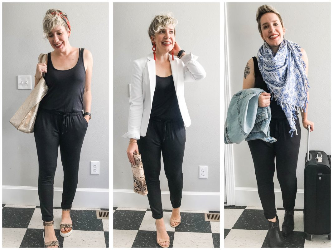 Need an everyday outfit for all occasions? Voilà — that black knit jumpsuit everybody loves. It's cute, cozy & comfy. Try 5 ways to style it casual & fancy.