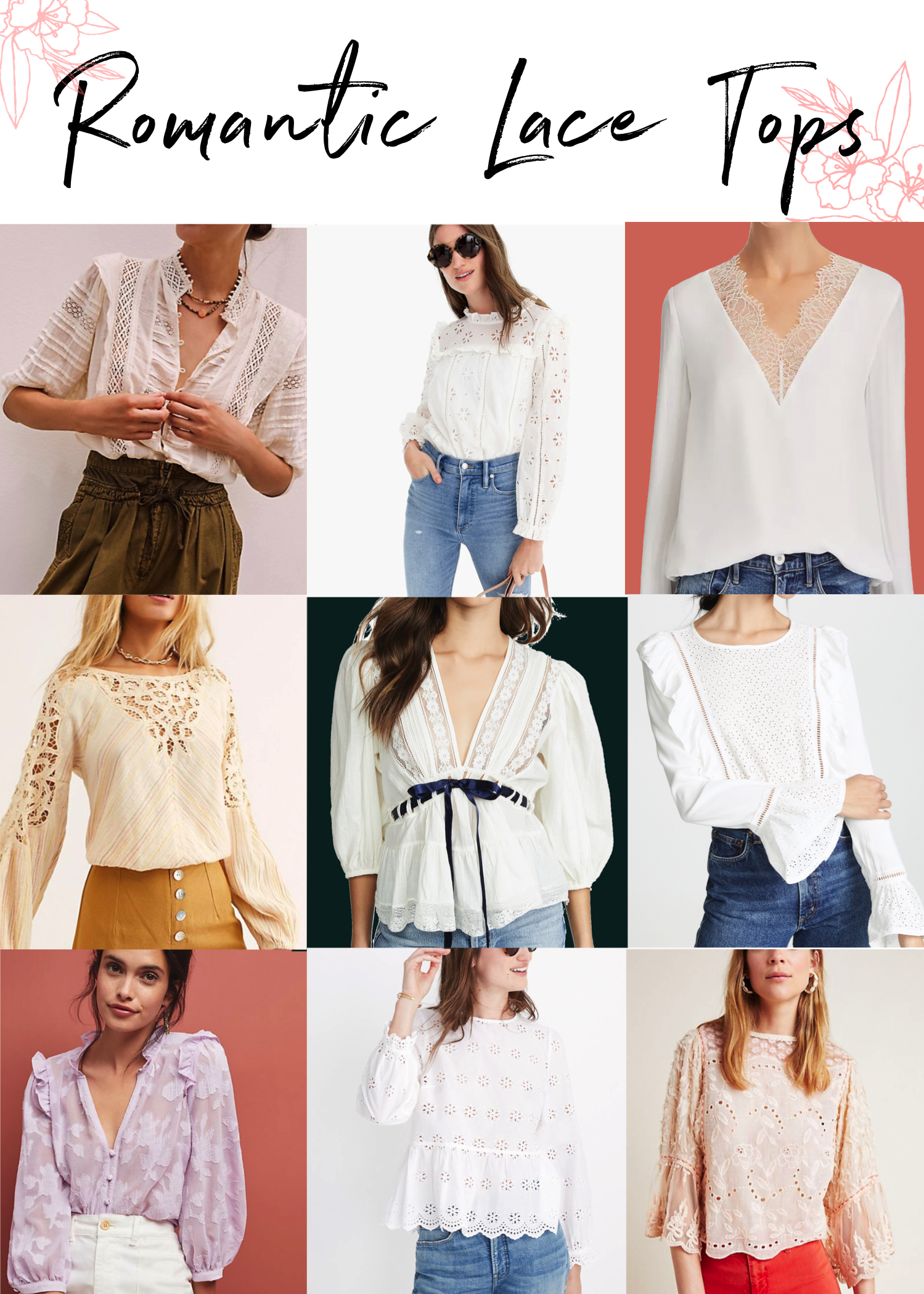 It's the perfect time to inject a li'l romance in your wardrobe. Lacy tops with a boho-chic vibe are calling. Free People, Madewell & Anthro are answering.