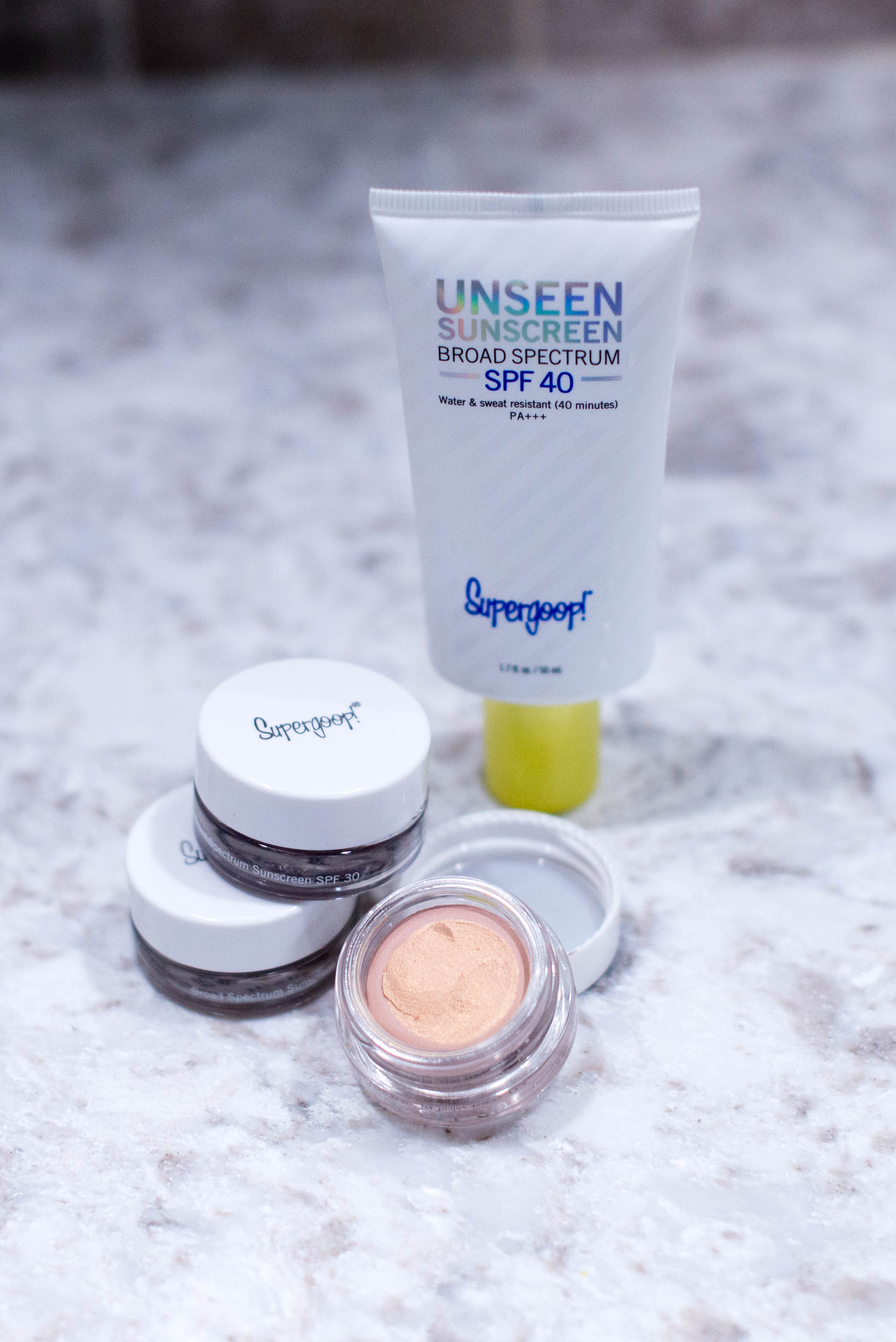 Smitten. Supergoop! has 2 new products we're obsessed with: Unseen Sunscreen, an invisible makeup primer, & Shimmershade, cream eyeshadow. Ready for summer!