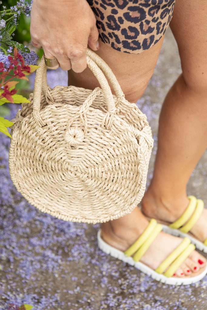 Leopard print shorts, white blouse, straw bag, wedge sandals, comfy jeans...affordable, trendy summer clothes just got easier...
