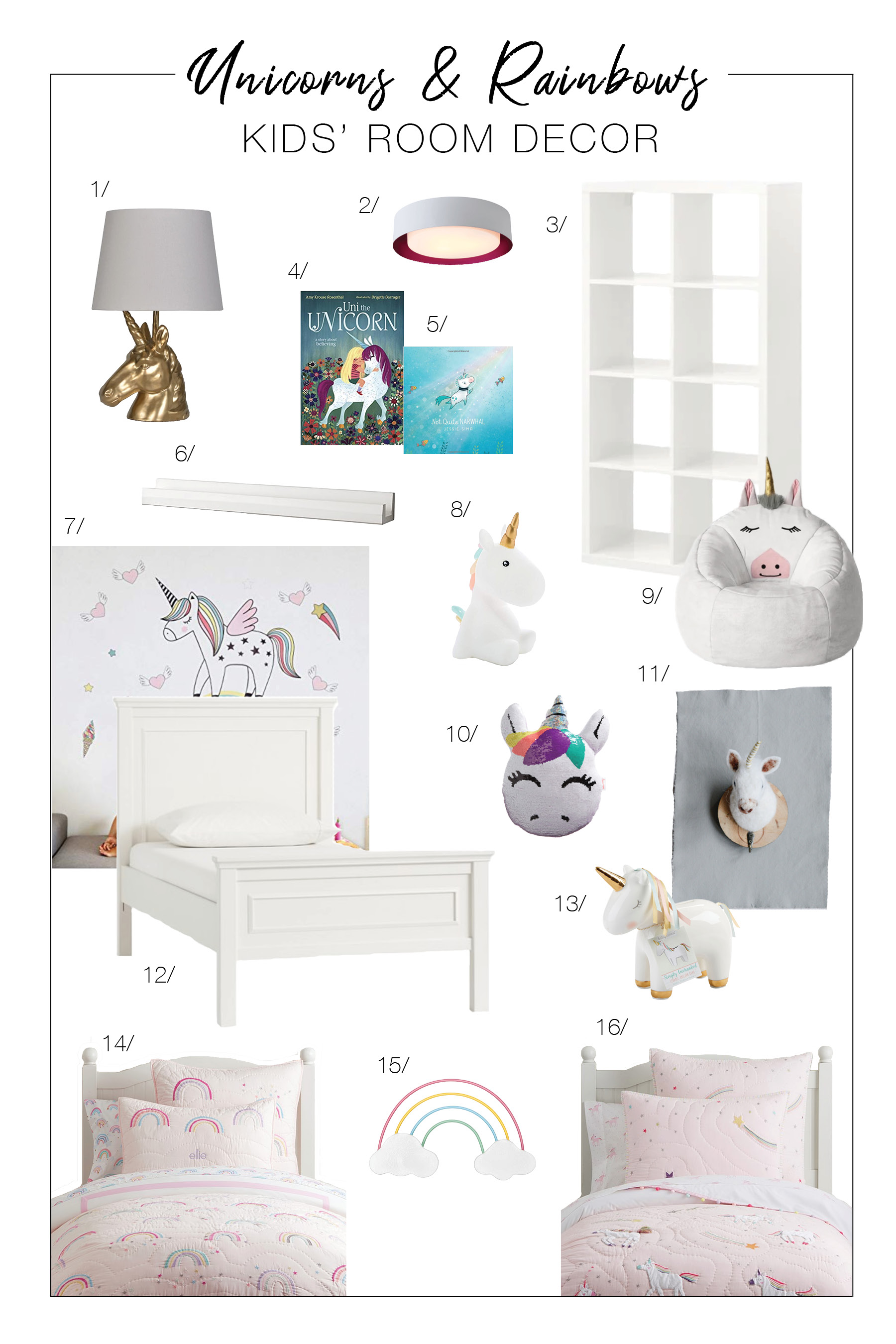 What we love about rainbow & unicorn room decor? It's bright, inspired & will grow with your littles. Our DIY kids' bedroom ideas — right here.