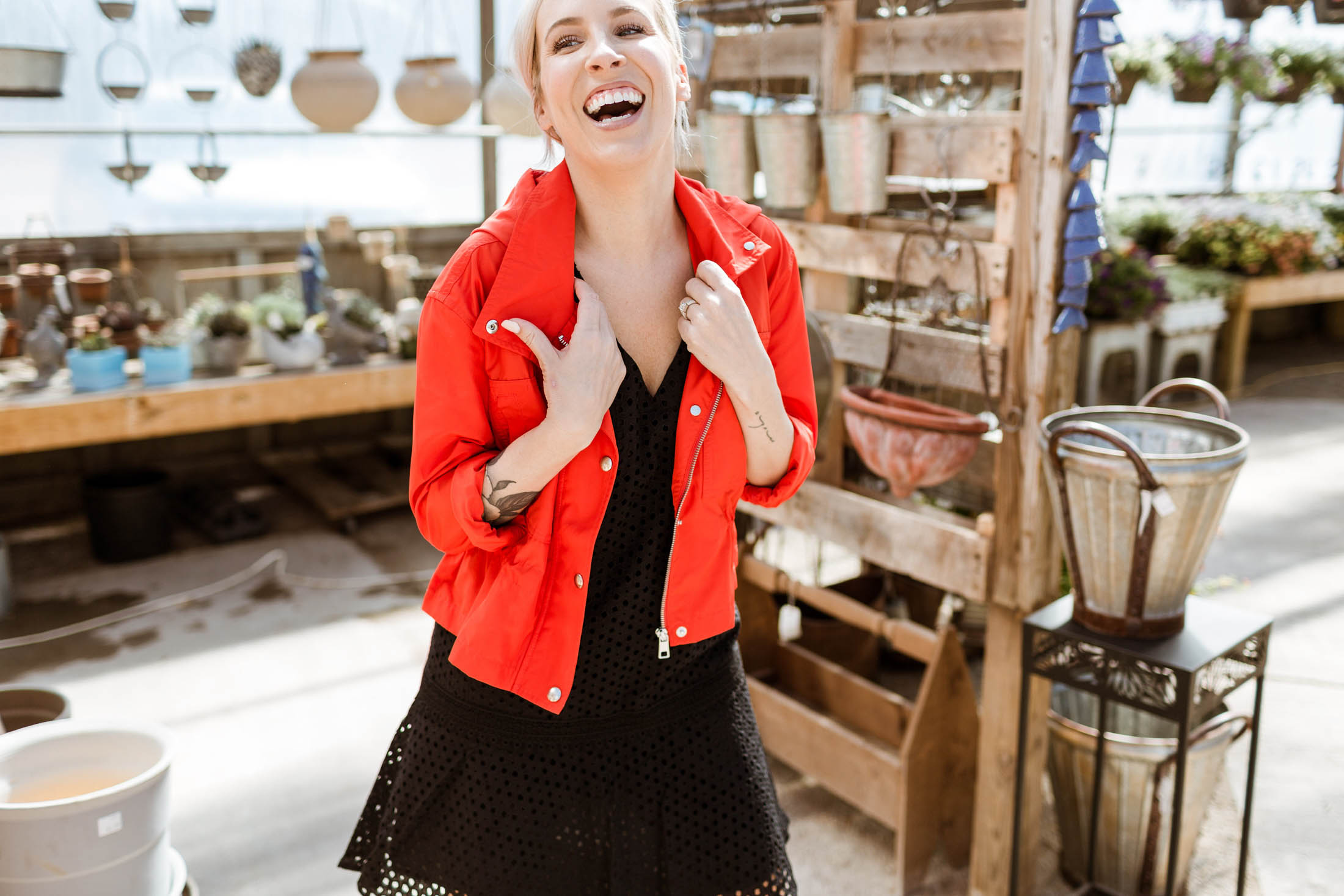 Pretty dresses + spring & summer jackets = an easy outfit formula for day-to-night dressing. We're all over this eyelet dress & cotton-linen blazer. WIN.