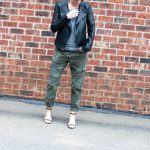 Our daily momiform just got an upgrade: camo pants, gray t-shirt & black moto jacket takes our streetstyle aesthetic next level. Check it out.