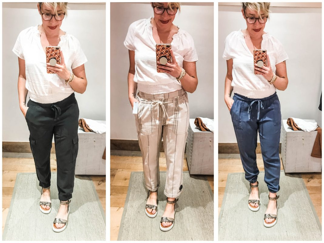 Cute summer outfits sans shorts? We're on it. #dressingroomselfies at Anthropologie. Check out joggers, paperbag & high-waist pants — some with Tencel.