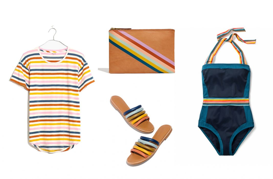 Rainbow stripes: they're all fun-in-the-sun & summertime, so we're on it. Bring on the cute swimsuits, sandals, clothes & accessories with bright stripes.