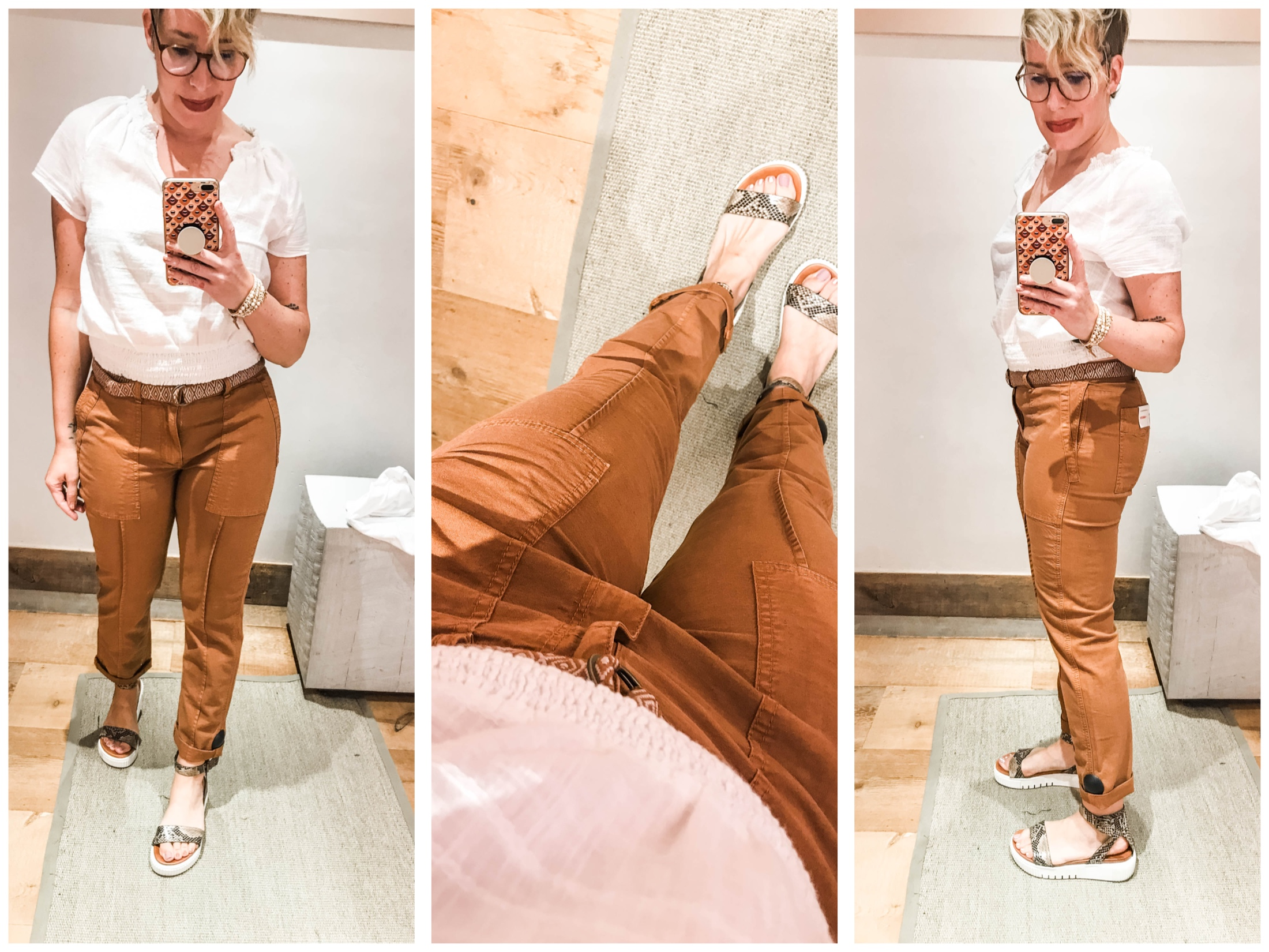 Cute summer outfits sans shorts? We're on it. Time for #dressingroomselfies at Anthropologie. Checking out lightweight, non-jeans pants — some with Tencel.