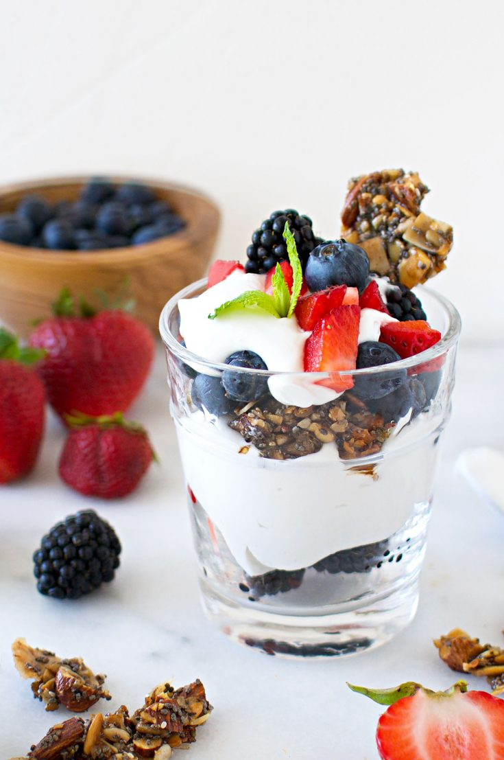 Berries + Coconut Cream Granola Parfaits (Vegan + GF)