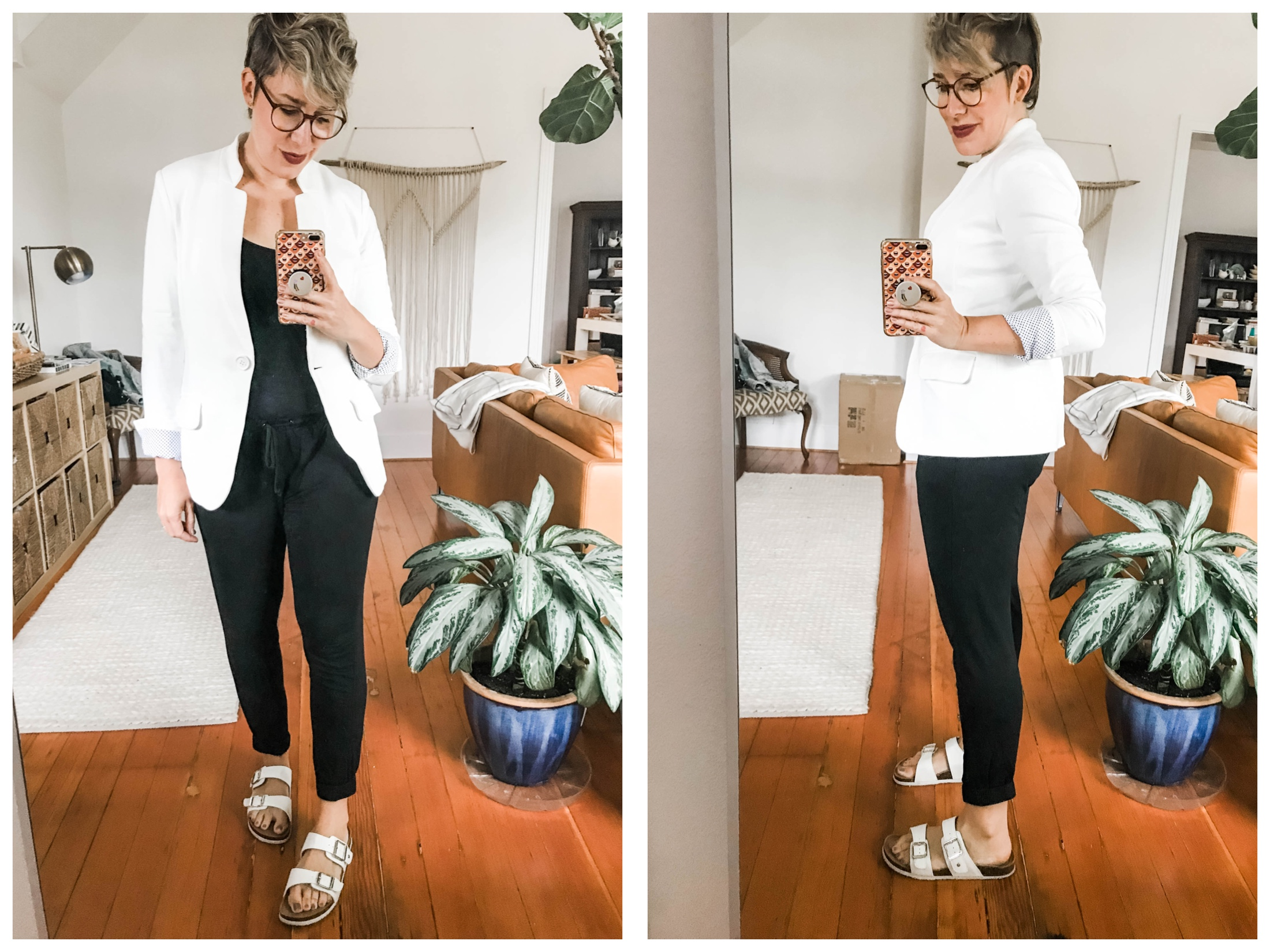White blazers are quickly becoming our go-to casual outfit upgrade. For summer, we're styling it with denim & neutrals — check it out.