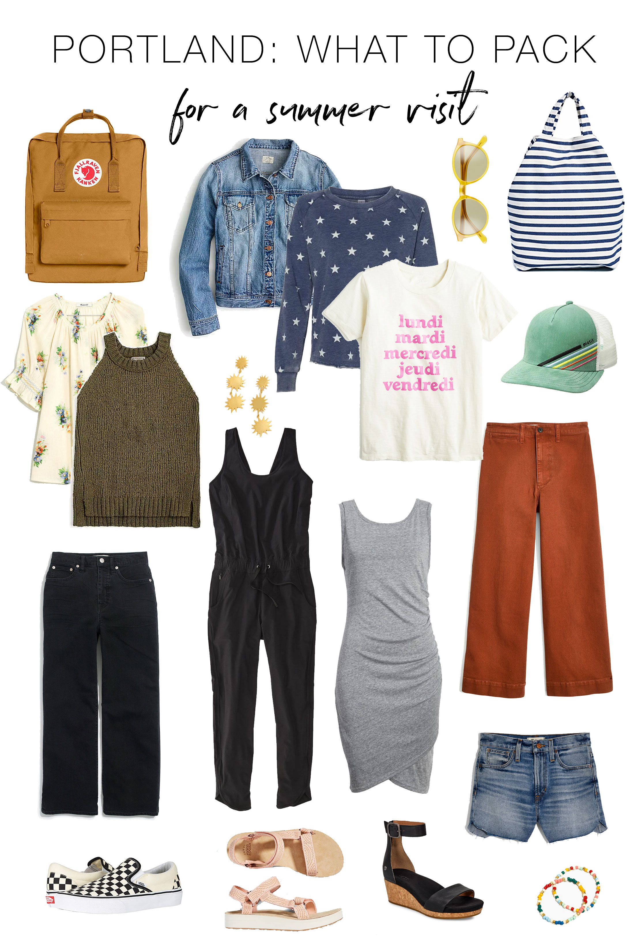 Ah, yes! Vacay in the Pacific Northwest this summer...so good! TME created this Portland packing list just for you —check out this travel capsule wardrobe.