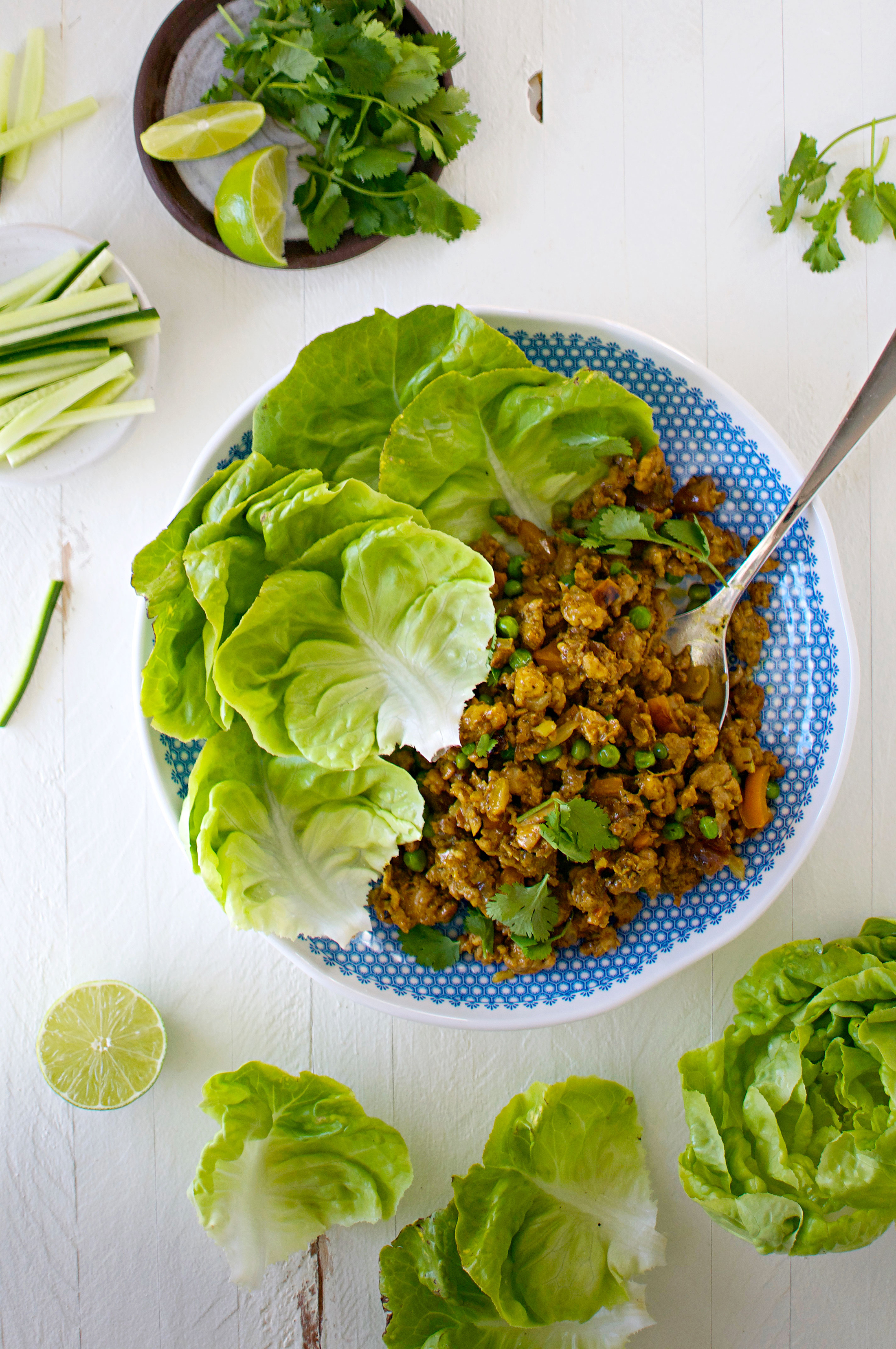 Indian Spiced Chicken Lettuce Wraps — a fast, flavorful healthy weeknight meal (or make-ahead SDL). Dairy-free. gluten-free. Vegetarian? Try it w/chickpeas.