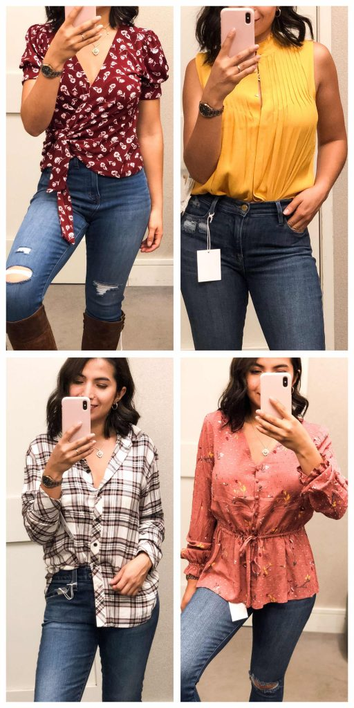 Our Anniversary Sale early access try-ons offer floral blouses, wrap tops, plaid button downs & peplum silhouettes for the WIN. YES, mamas.