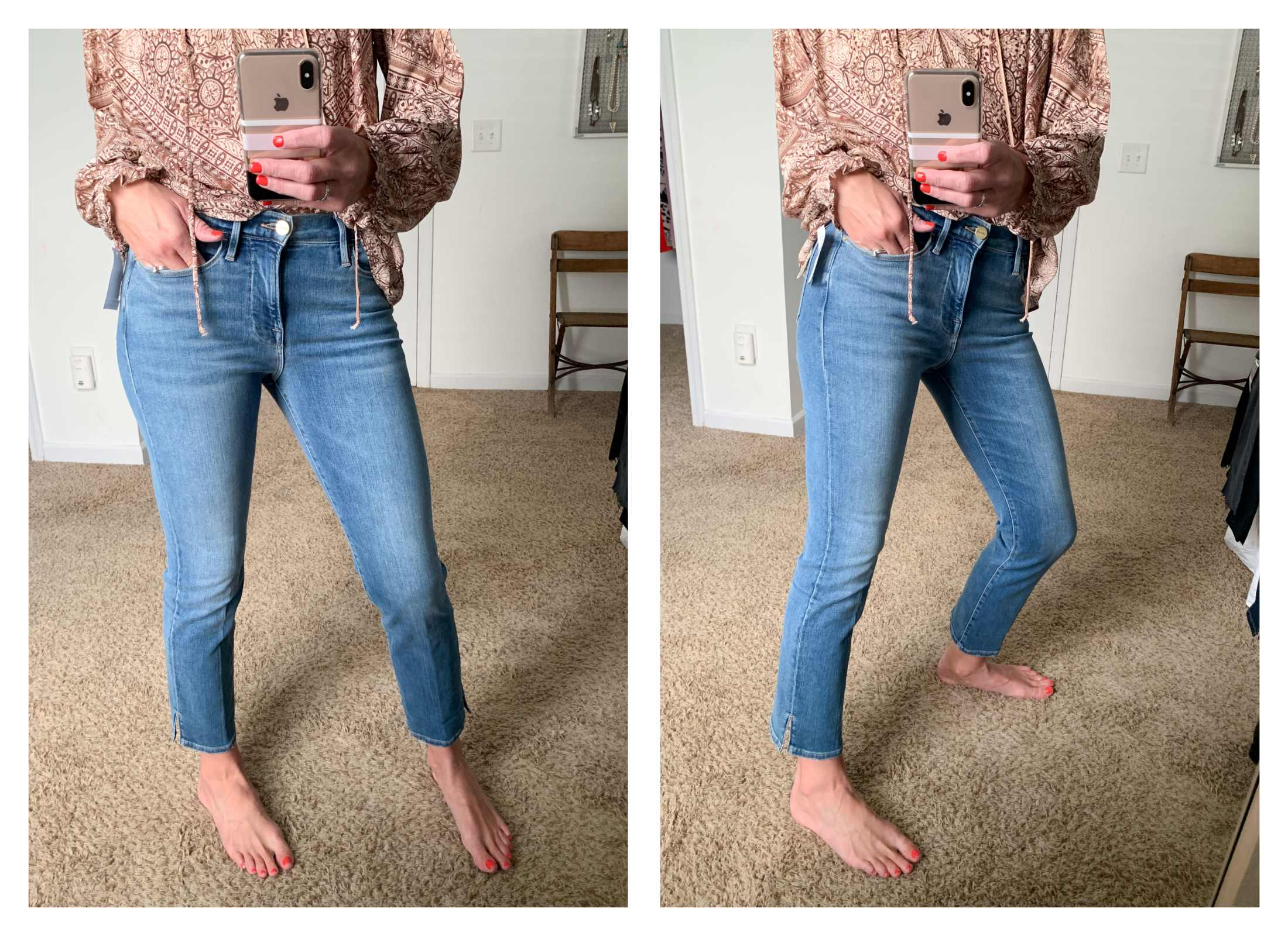 Want to see the FRAME Le High Straight Slit Hem Ankle Jeans on a tall woman? Right here. Adds more premium denim to cart...