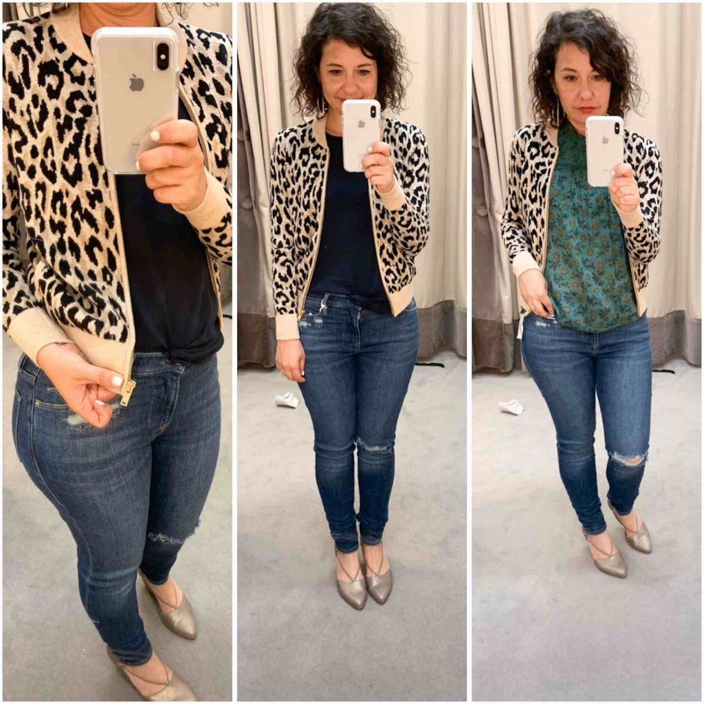 J.Crew leopard bomber, Madewell anytime striped pullover, cashmere/wool cardigan to wear with all the things & easy striped sweaters — the Anniversary Sale nails it.