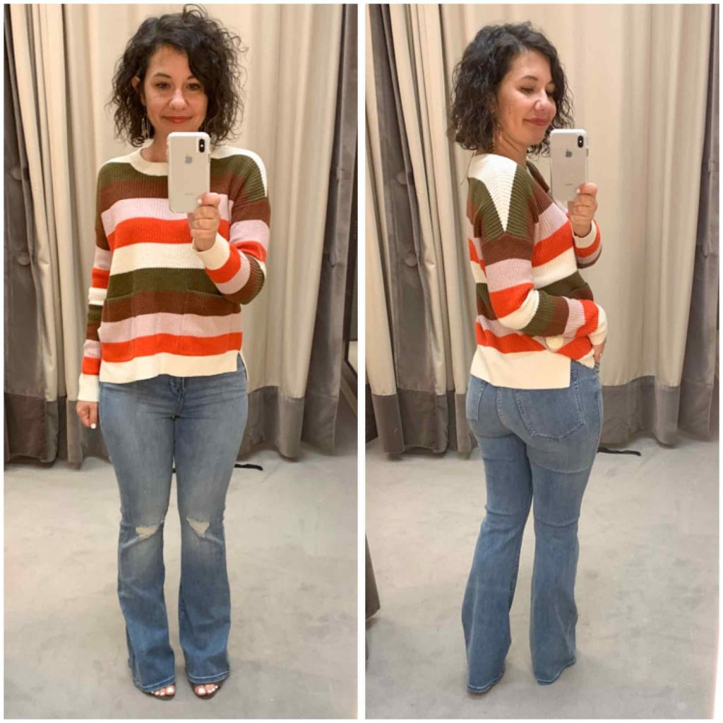 Good American is having a moment this Anniversary Sale. The flares are killing it, esp with a striped Madewell sweater & Vince booties. Shop it now!